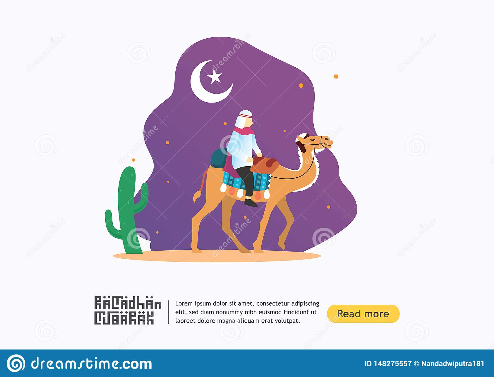 Concept heureux de salutation de Ramadan Mubarak avec le caract?re de chameaux de tour de personnes ? l arri?re-plan pourpre pour