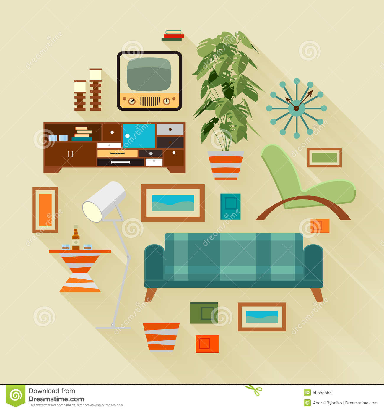 Living Room Living Room Stuff concept illustration with the living room stuff stock vector stuff