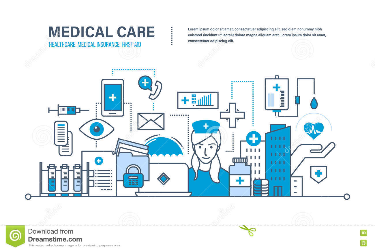 Concept Of Illustration - Medical Care, Healthcare, Insurance, First ...