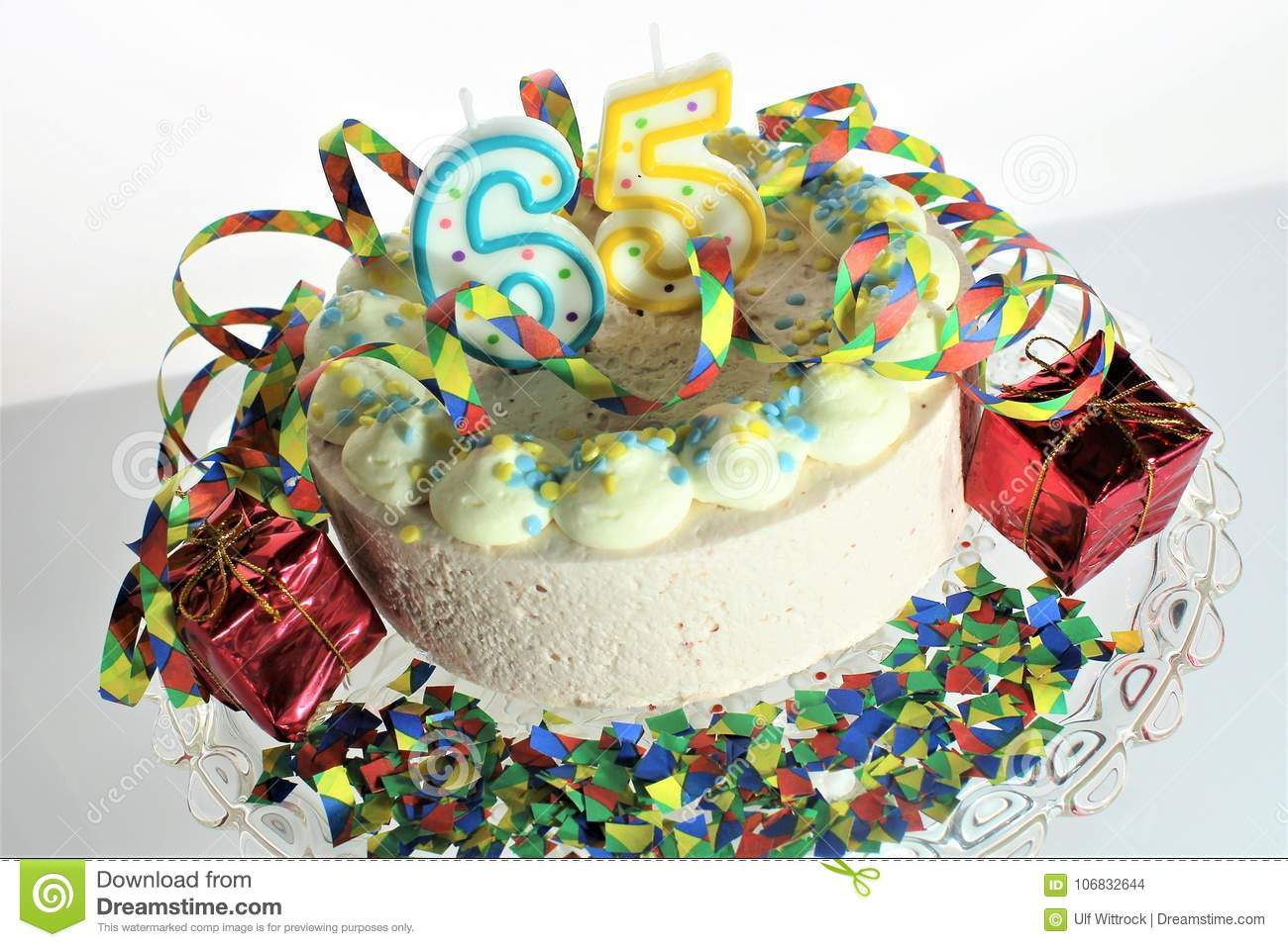 An Concept Image Of A Birthday Cake 65 Birthday Stock Photo