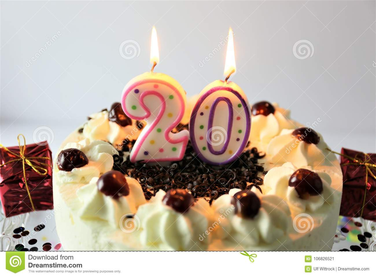 An Concept Image Of A Birthday Cake With Candle 20 Stock Image