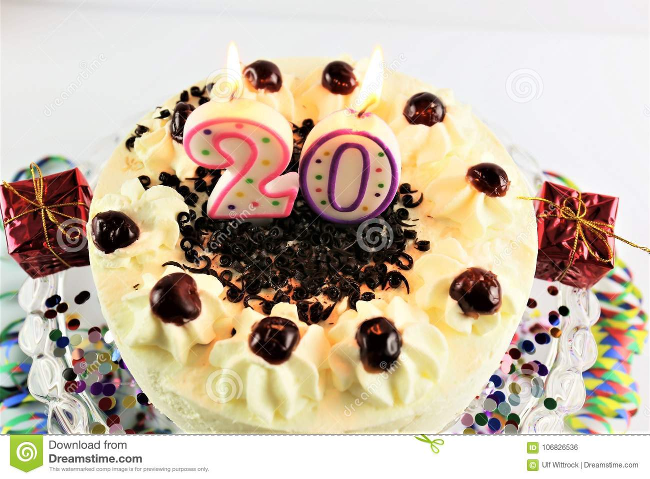 An Concept Image Of A Birthday Cake With Candle 20 Stock Photo