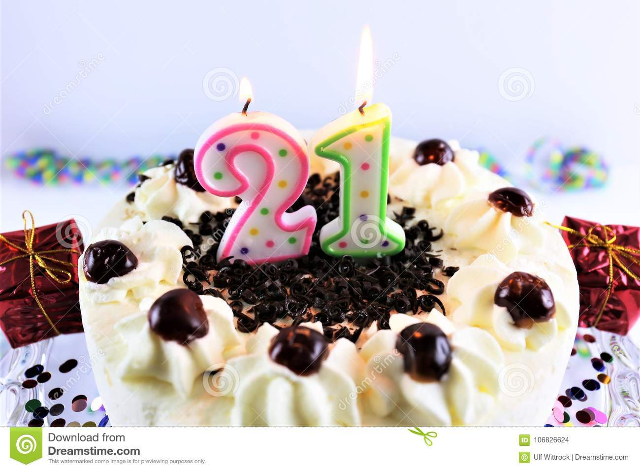 An Concept Image Of A Birthday Cake With Candle