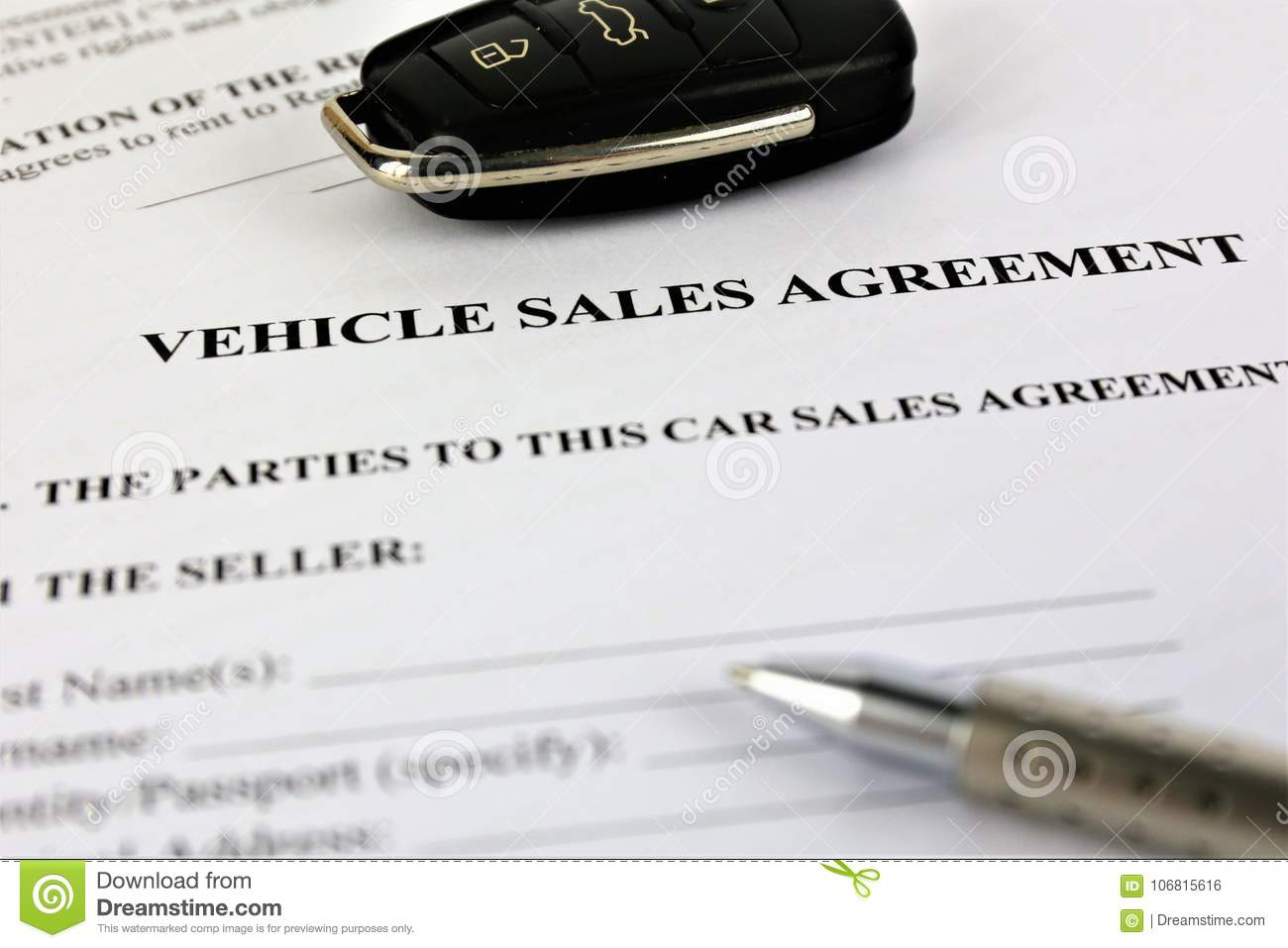 an concept image of a vehicle sales agreement stock photo image of