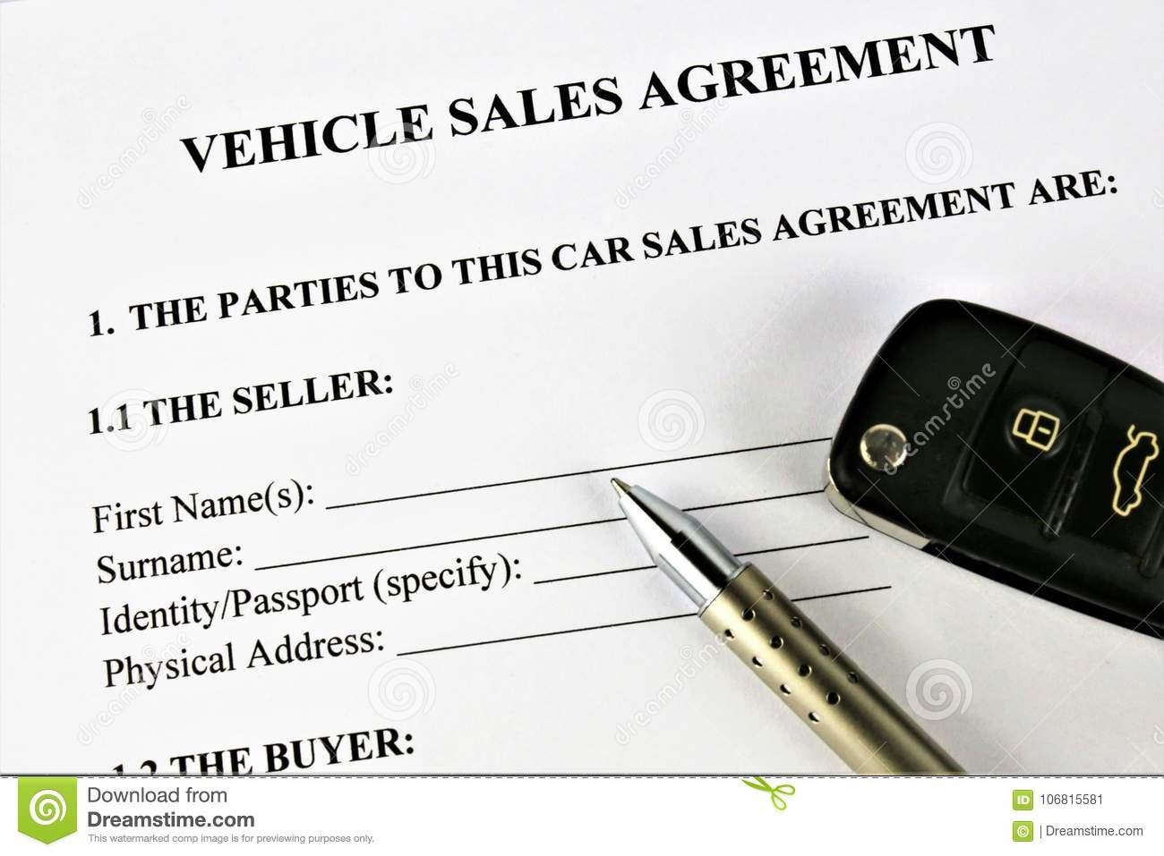 an concept image of a vehicle sales agreement stock image image of