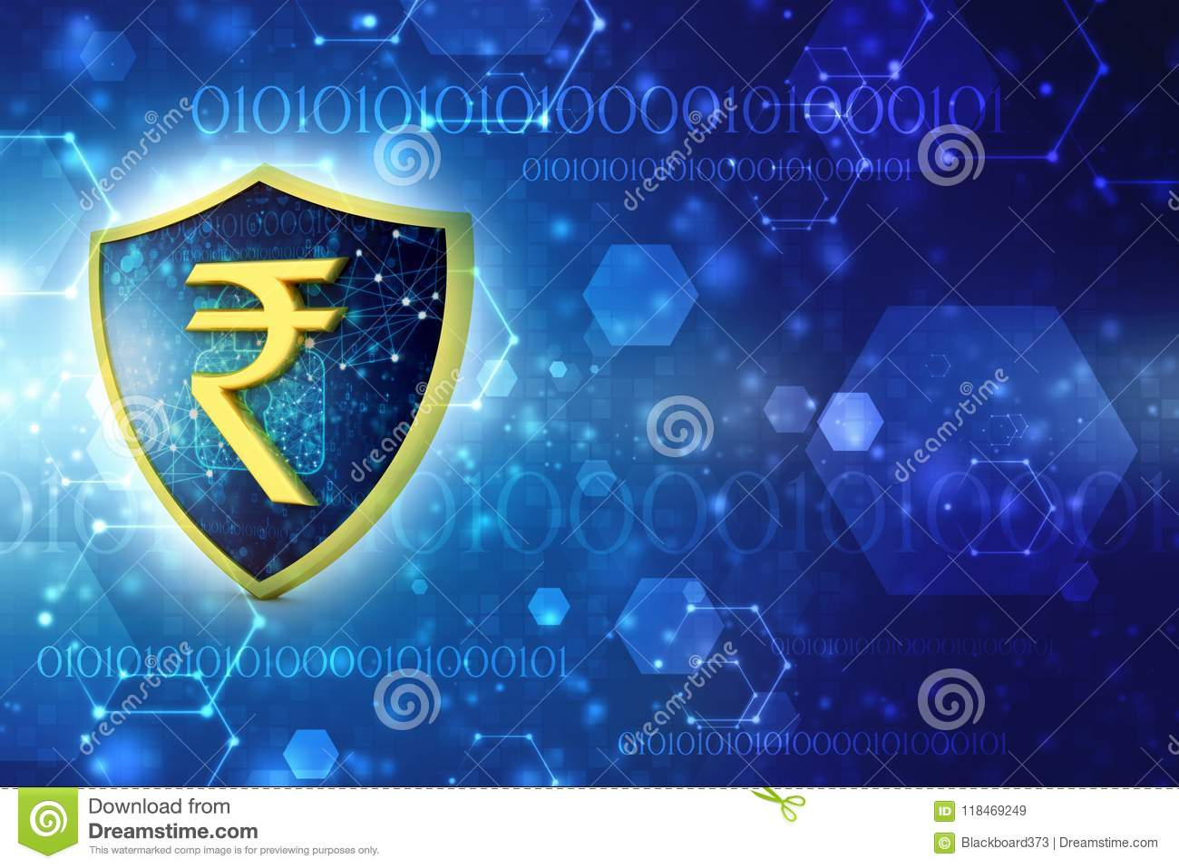 Concept Of Indian Rupee Protection Business Concept 3d Render