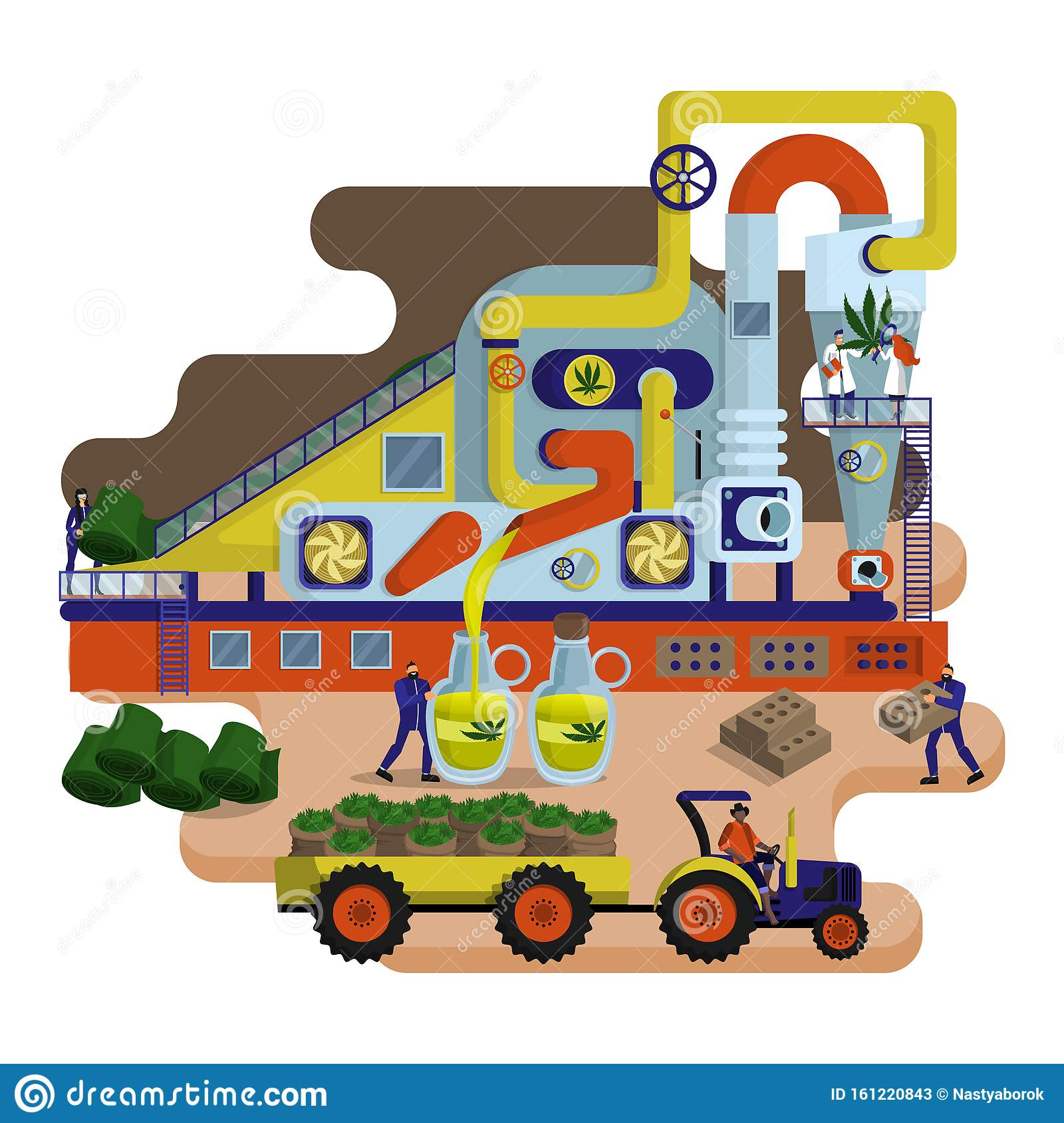 Concept Of Industrial Plant For Hemp Processing And Oil And Textile Production Stock Vector Illustration Of Industry Hemp 161220843