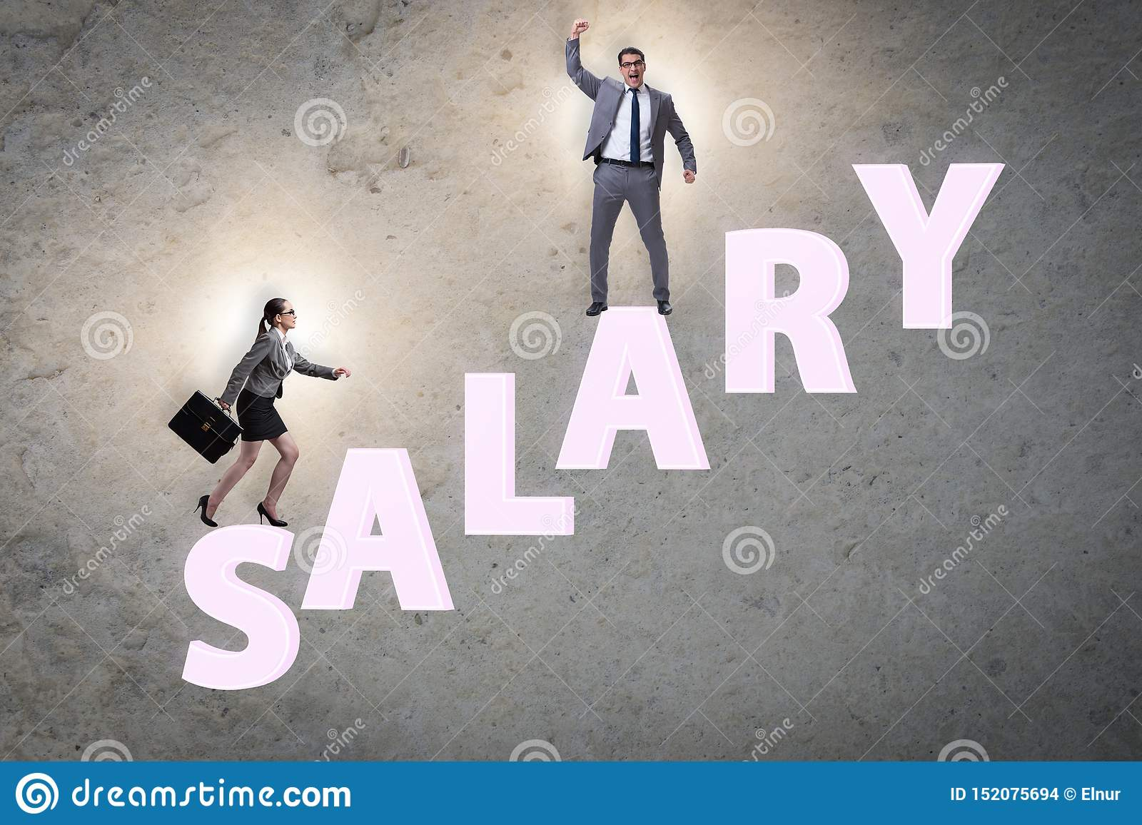 Concept of inequal salary between man and woman