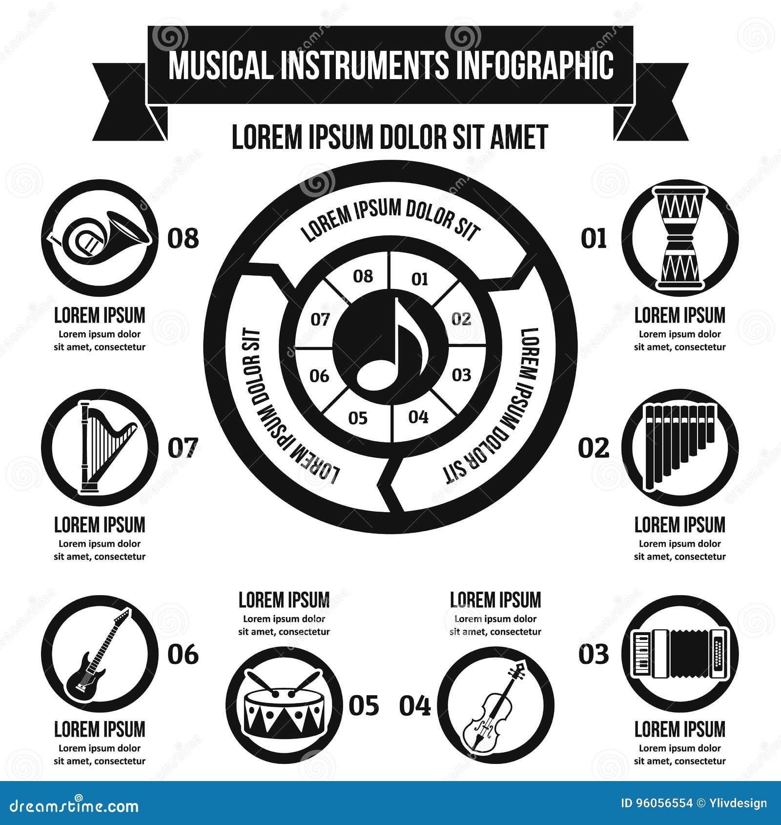 Concept infographic d instrument de musique, style simple