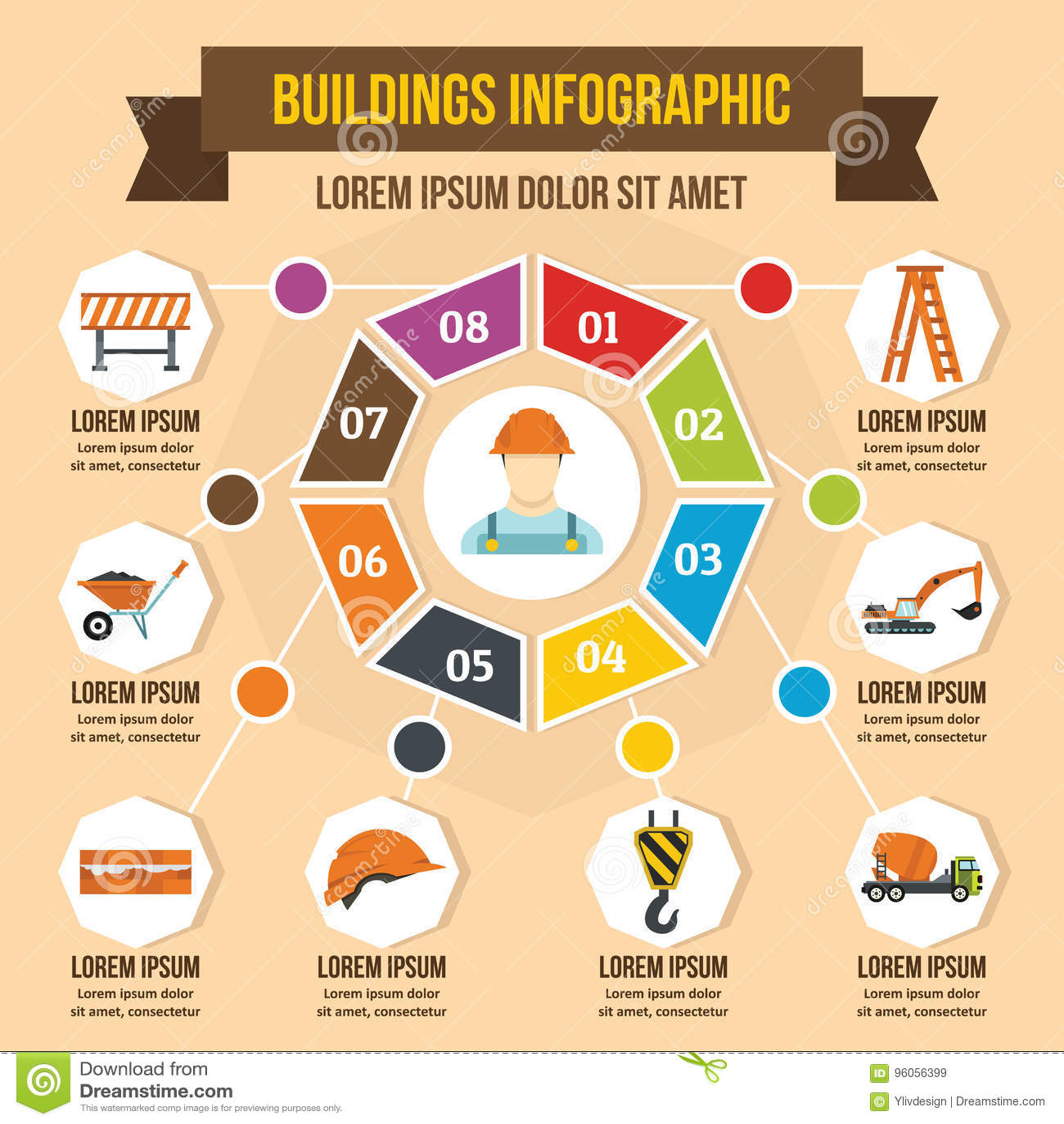 Concept infographic de bâtiments, style plat