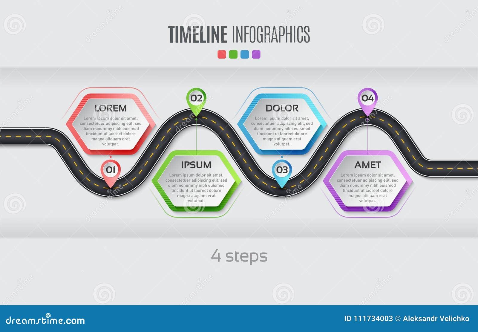 Concept infographic de chronologie de 4 étapes de carte de navigation Illu de vecteur