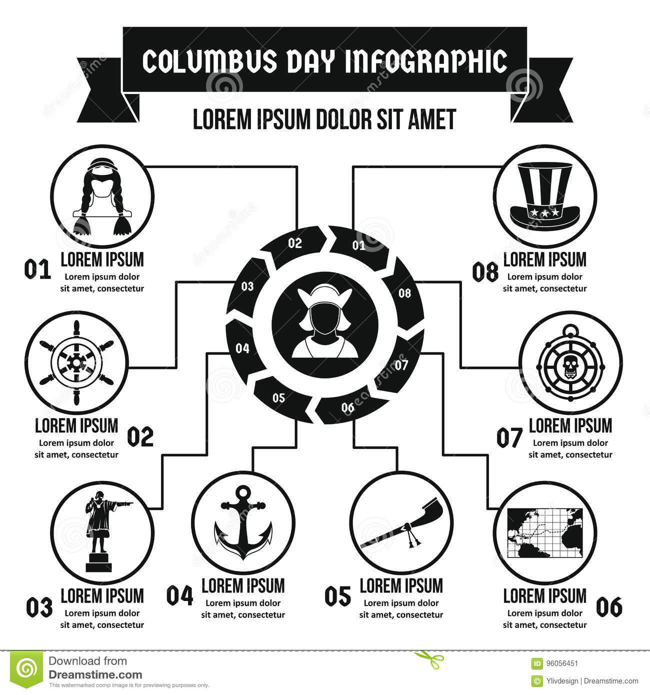 Concept infographic de Columbus Day, style simple