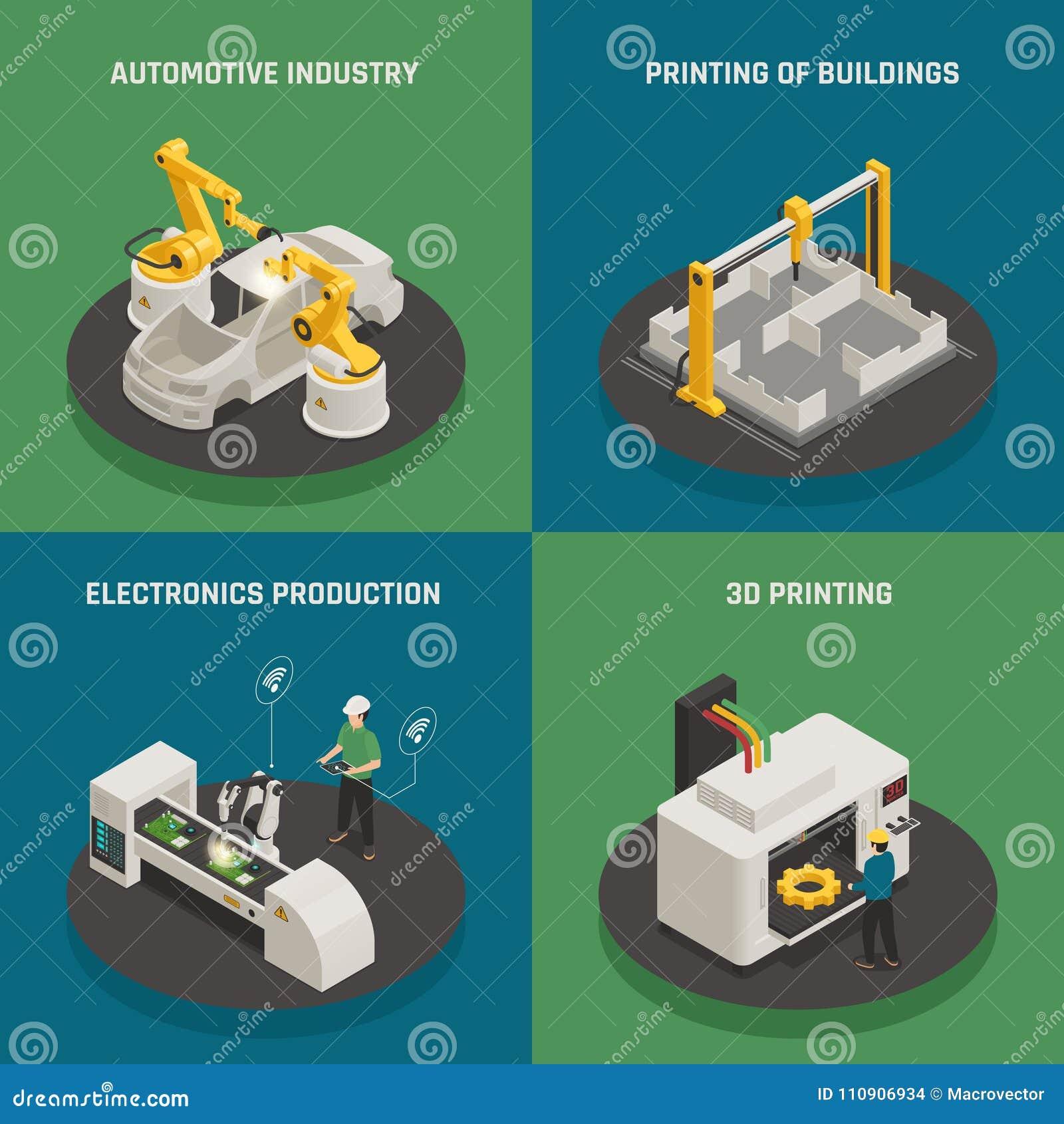 Concept isométrique d icônes de fabrication futée