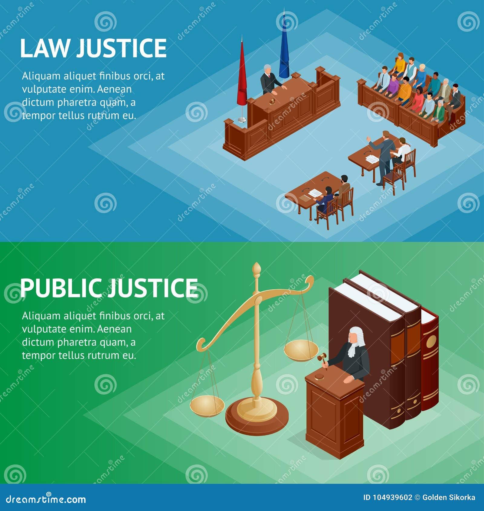 Concept isométrique de loi et de justice Thème de loi, maillet du juge, échelles de justice, livres, statue de vecteur de justice