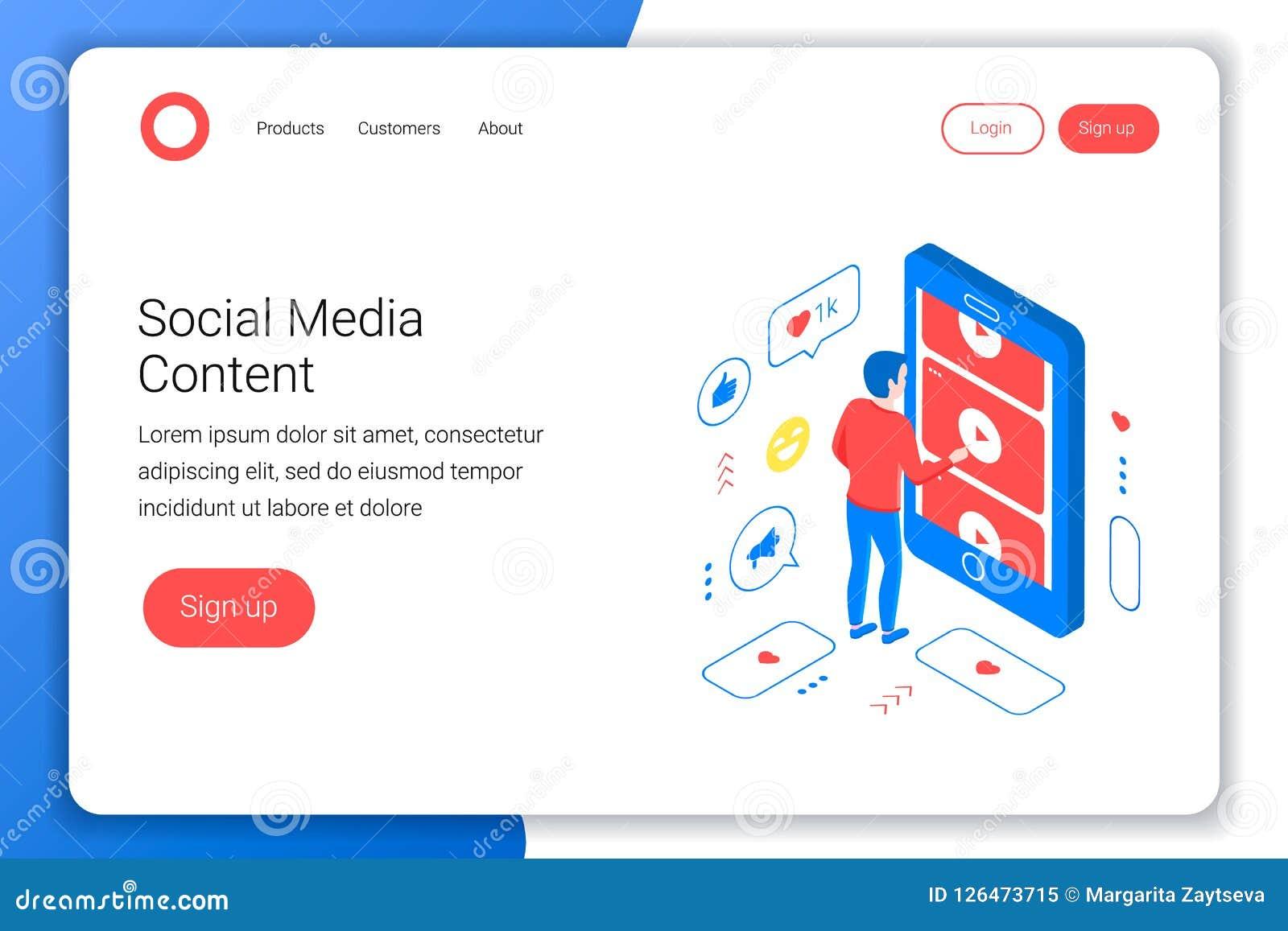 Concept isométrique de media social
