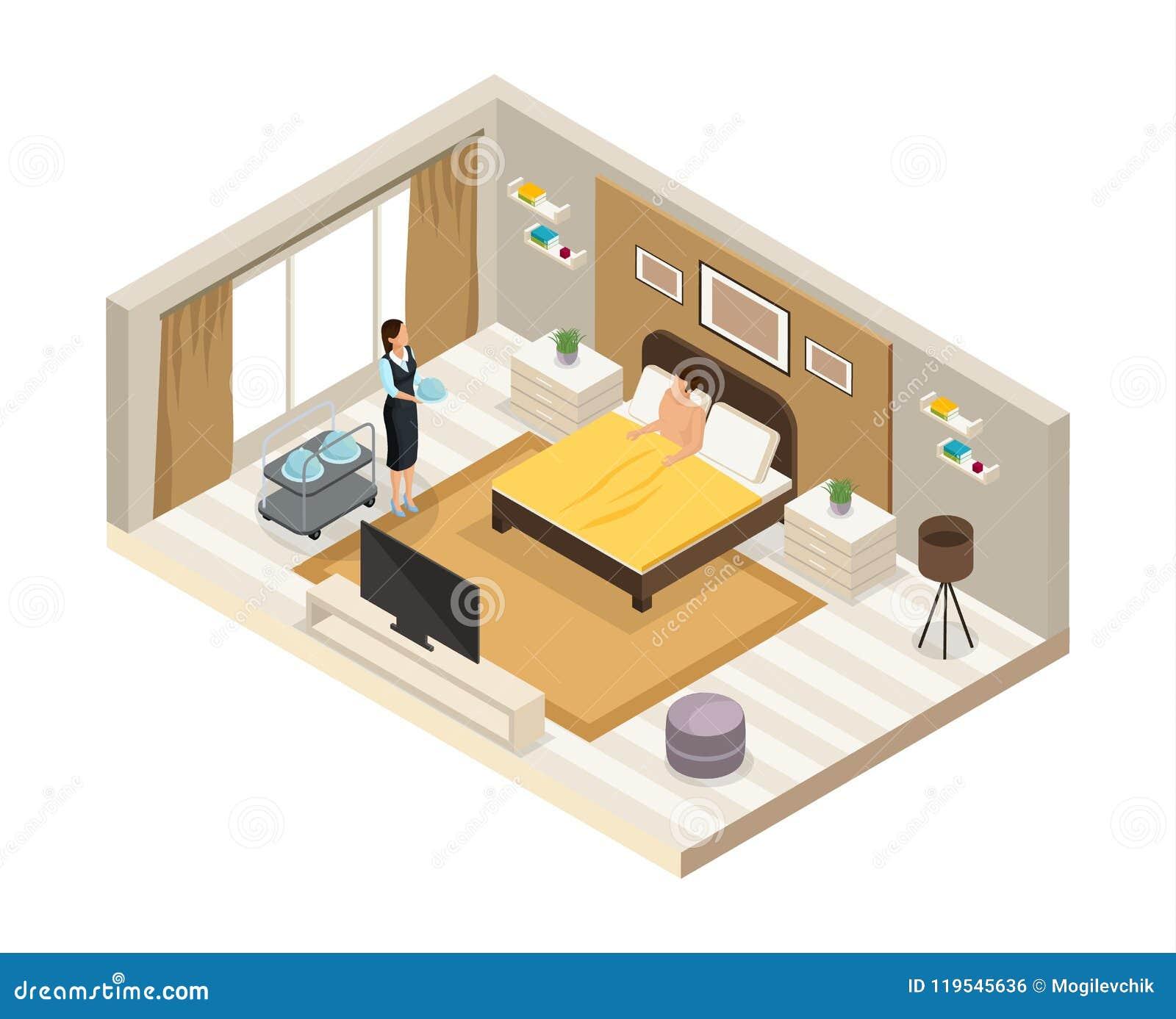 Concept isométrique de service hôtelier de petit déjeuner