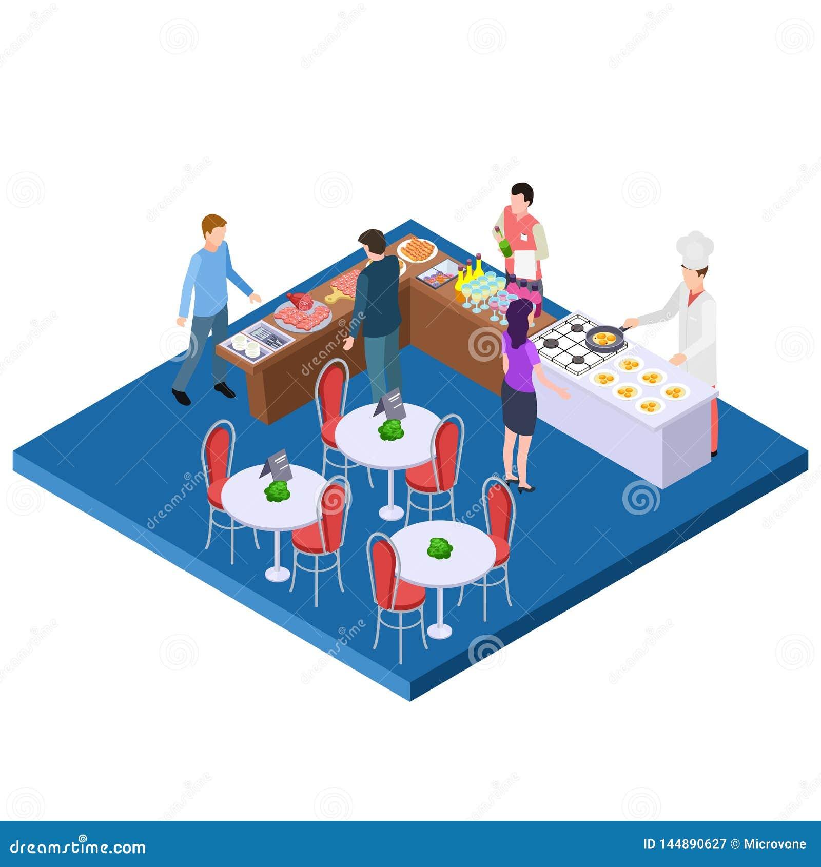 Concept Isométrique De Vecteur Du Restaurant 3d De Petit