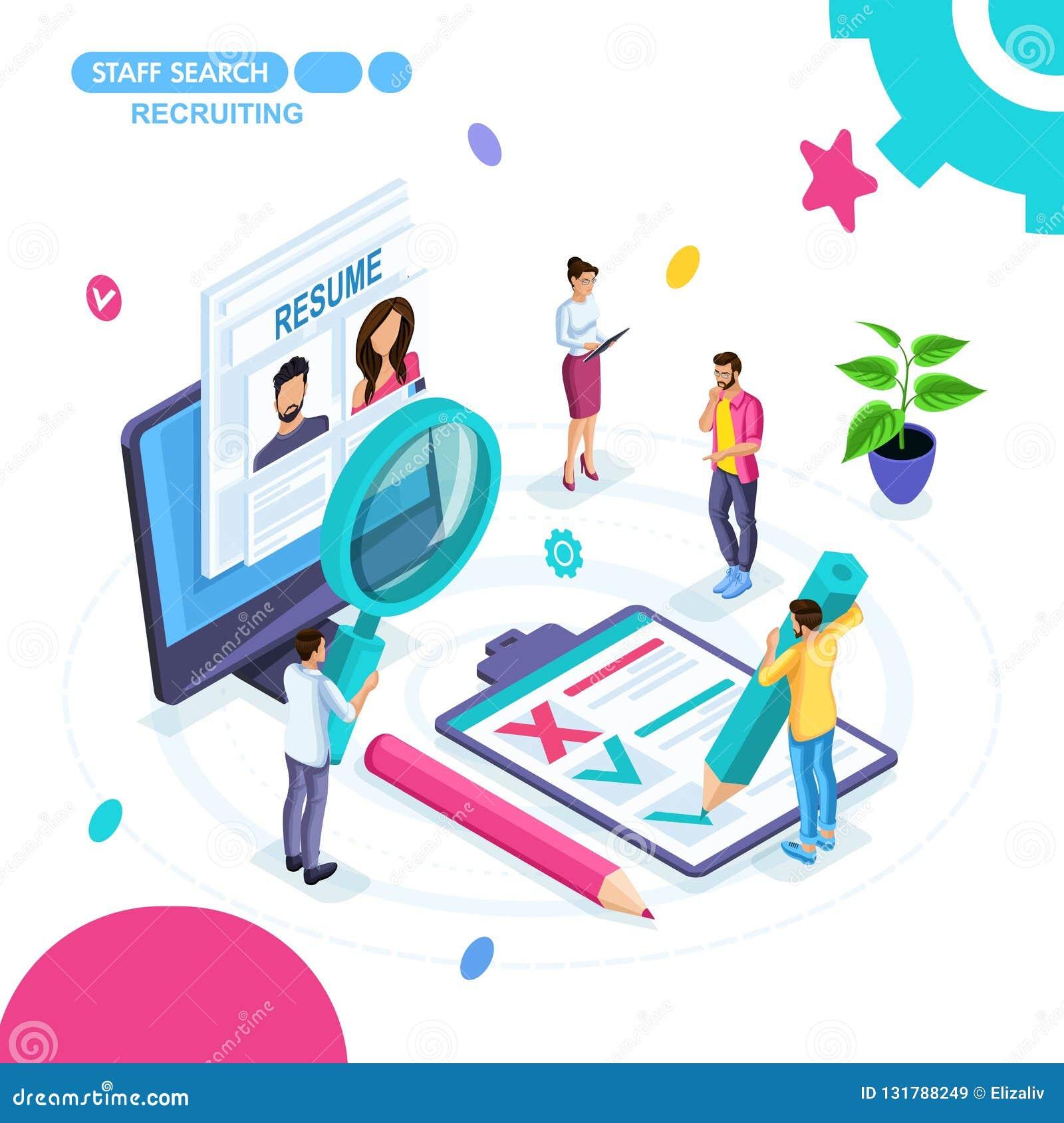 Concept isométrique des affaires, recherche des employés en ligne, recrutant, résumé, externalisation Les jeunes entrepreneurs tr