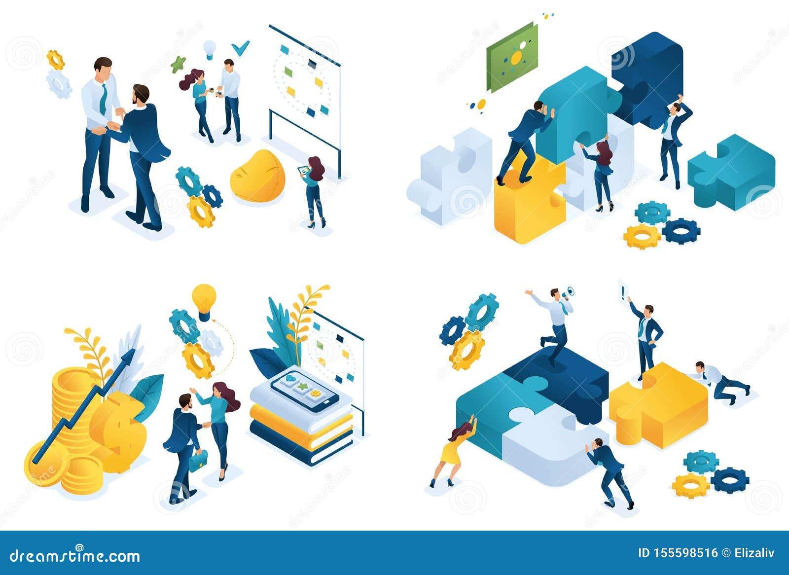 Concept isométrique réglé d association d affaires Concepts modernes d illustration pour le site Web et le d?veloppement mobile d