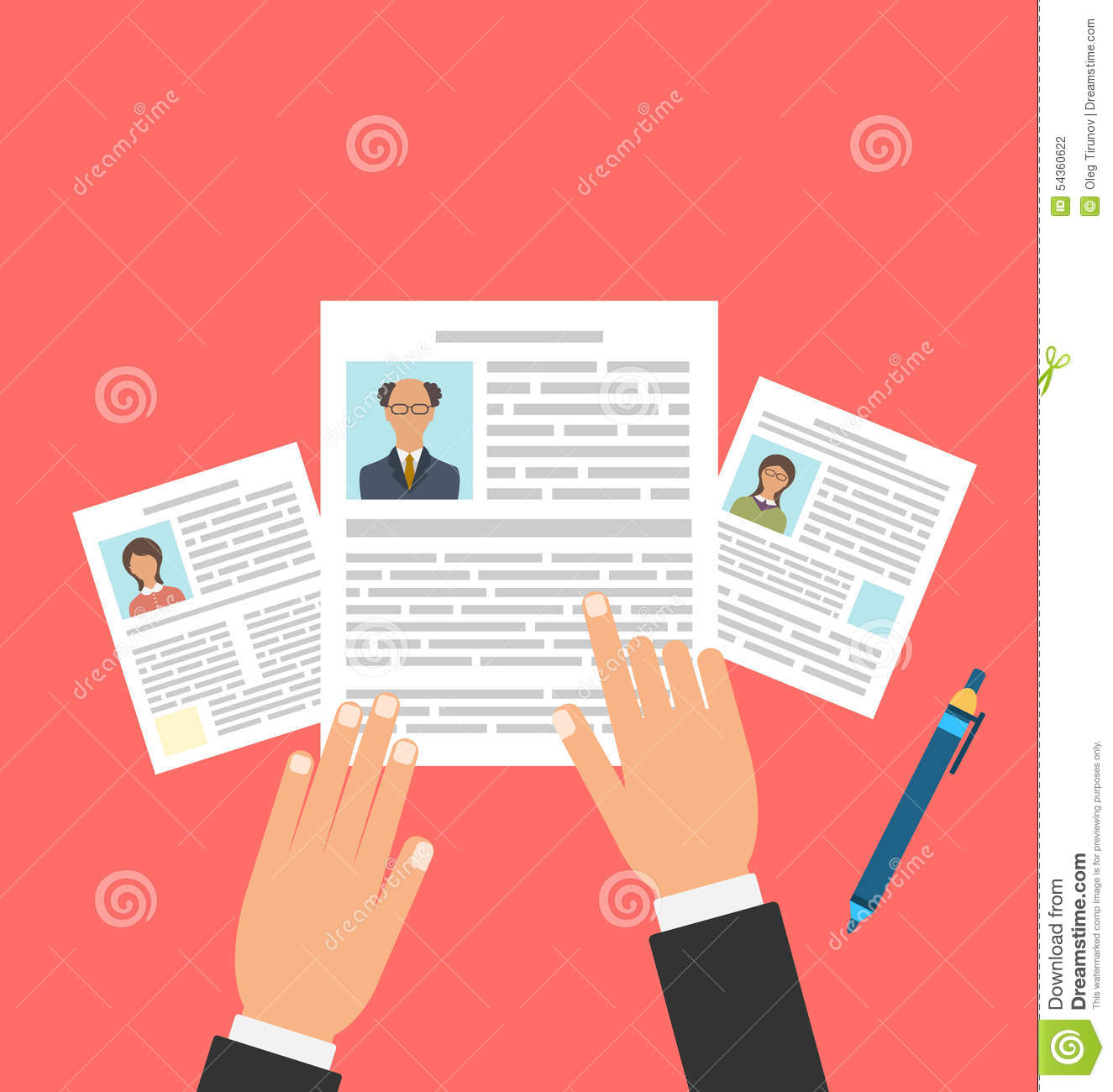 concept of job interview with business cv resume stock vector