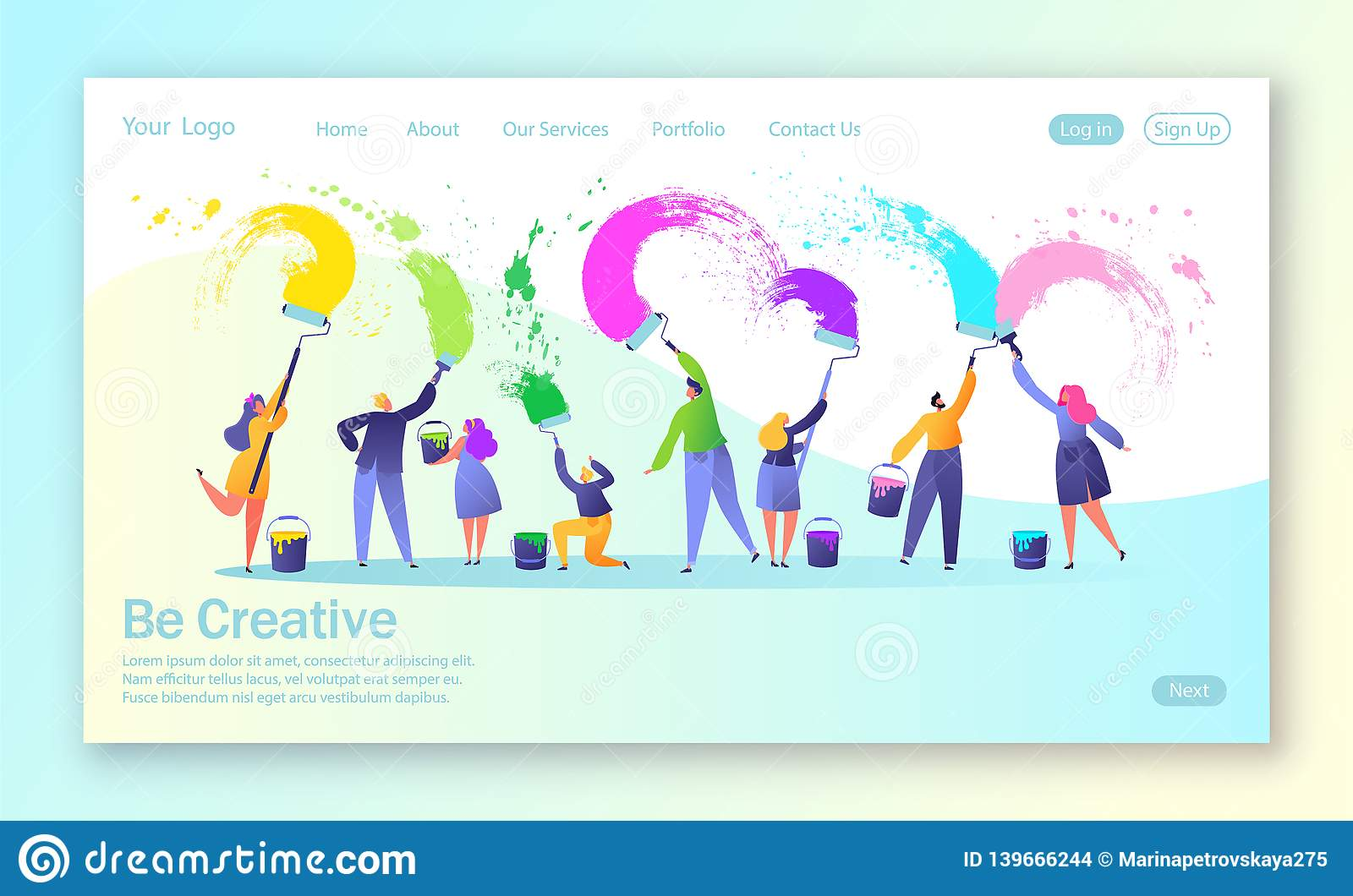 Concept of landing page with business creative teamwork. Creative people characters paints with brushes and paint rollers big whit