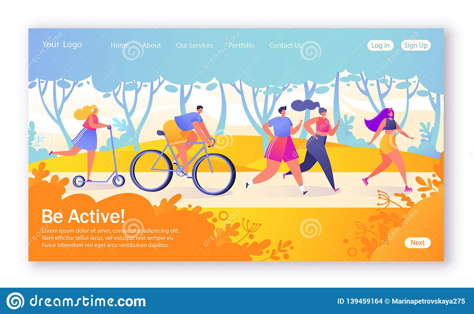 Concept of landing page on healthy lifestyle theme. Active people sports. Happy characters riding bicycle, couplerunning, woman on