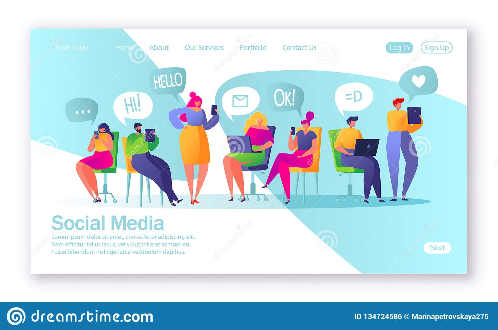 Concept of landing page on social media theme. Vector illustration for mobile website development and web page design.