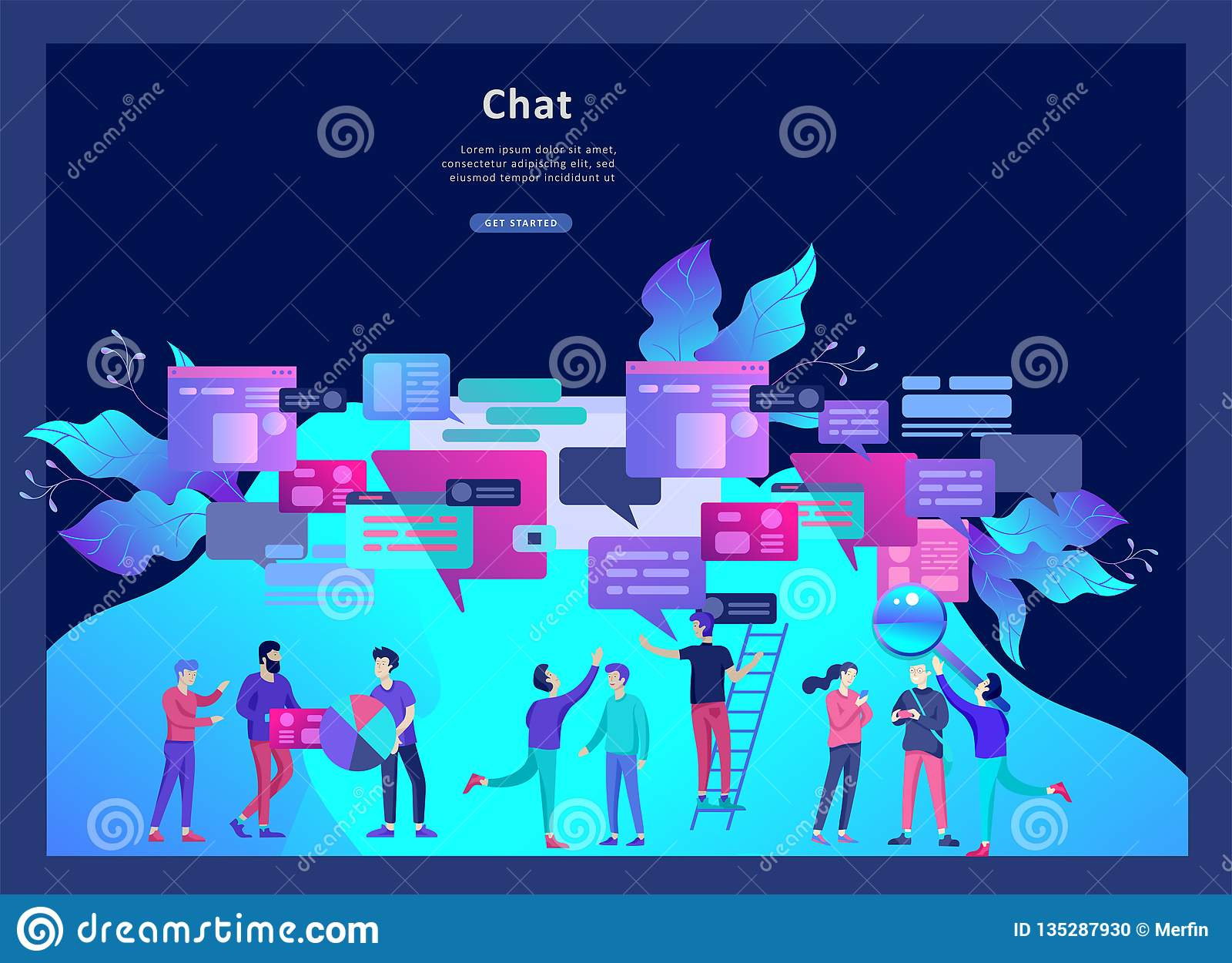 Concept Landing Page Template, Flat Style, Businessmen Discuss