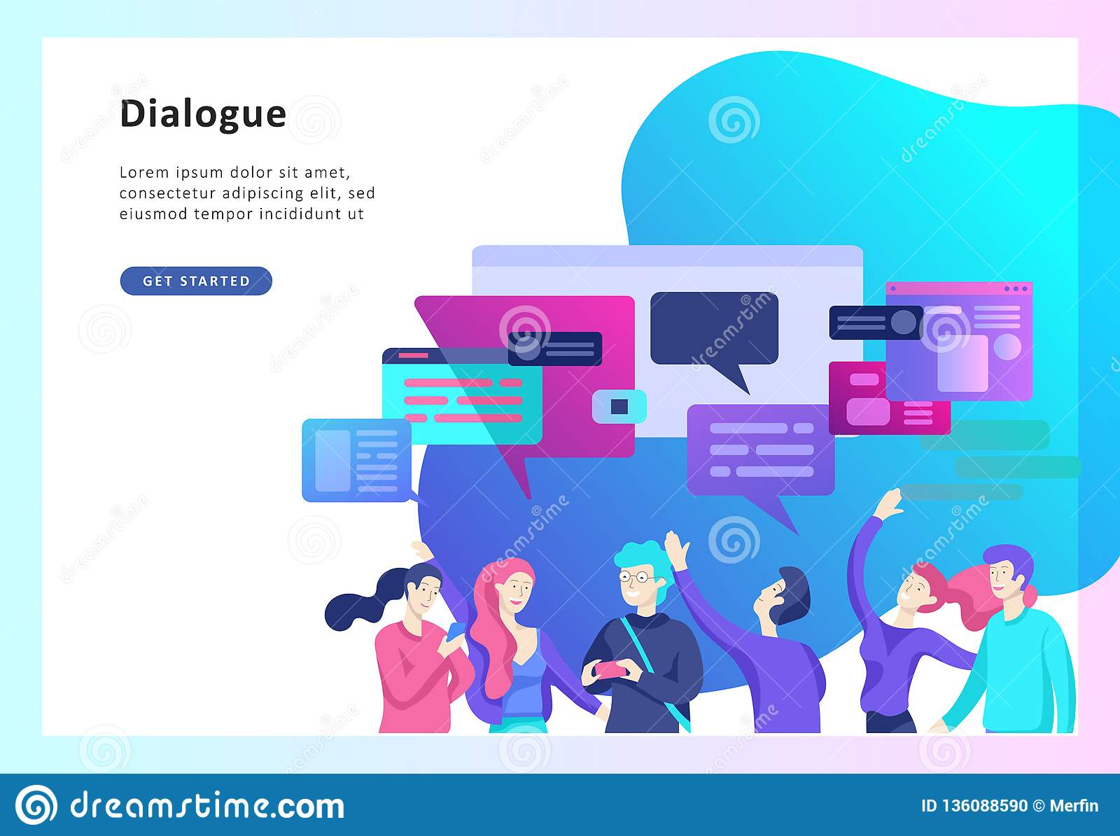 Concept Landing Page Template, Flat Style, Businessmen