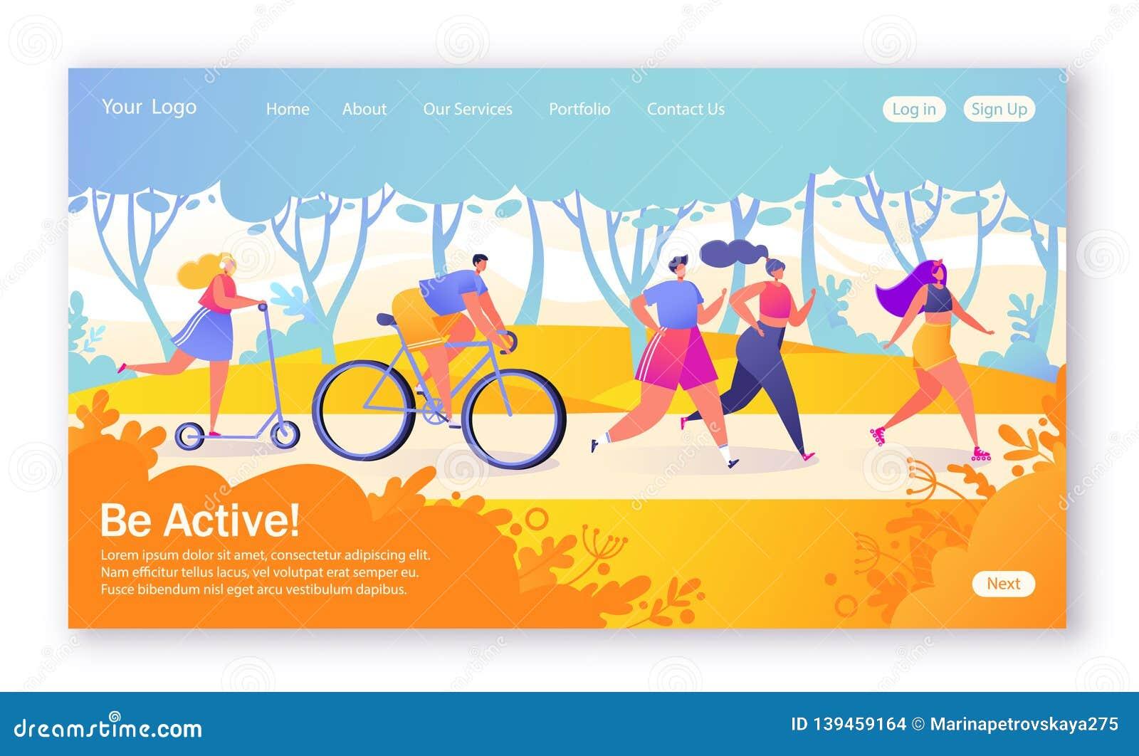 Concept landingspagina op gezond levensstijlthema Actieve mensensporten Gelukkige karakters die fiets, het couplerunning, vrouw b