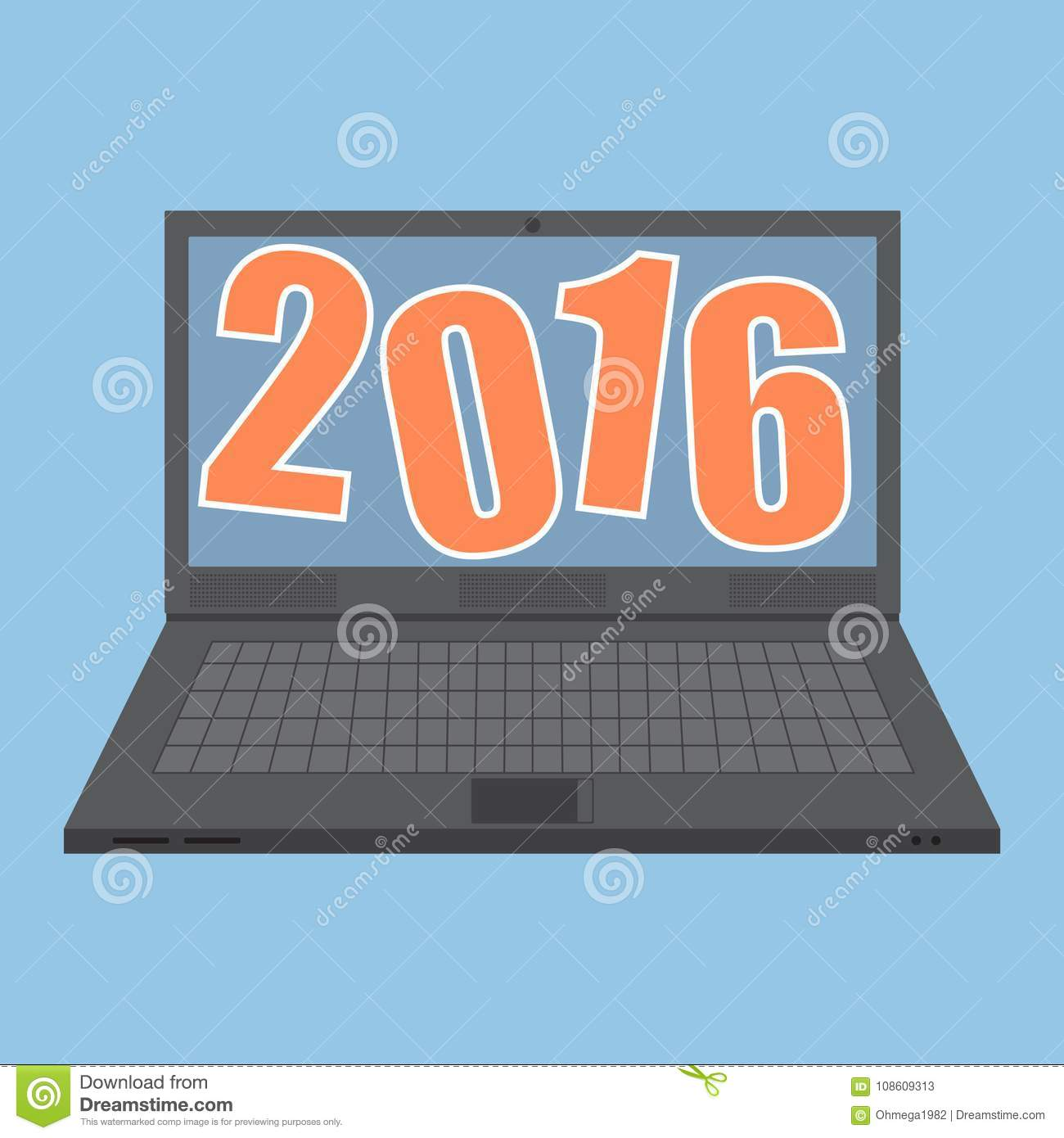 Concept of Laptop Computer with new year 2016 idea concept.