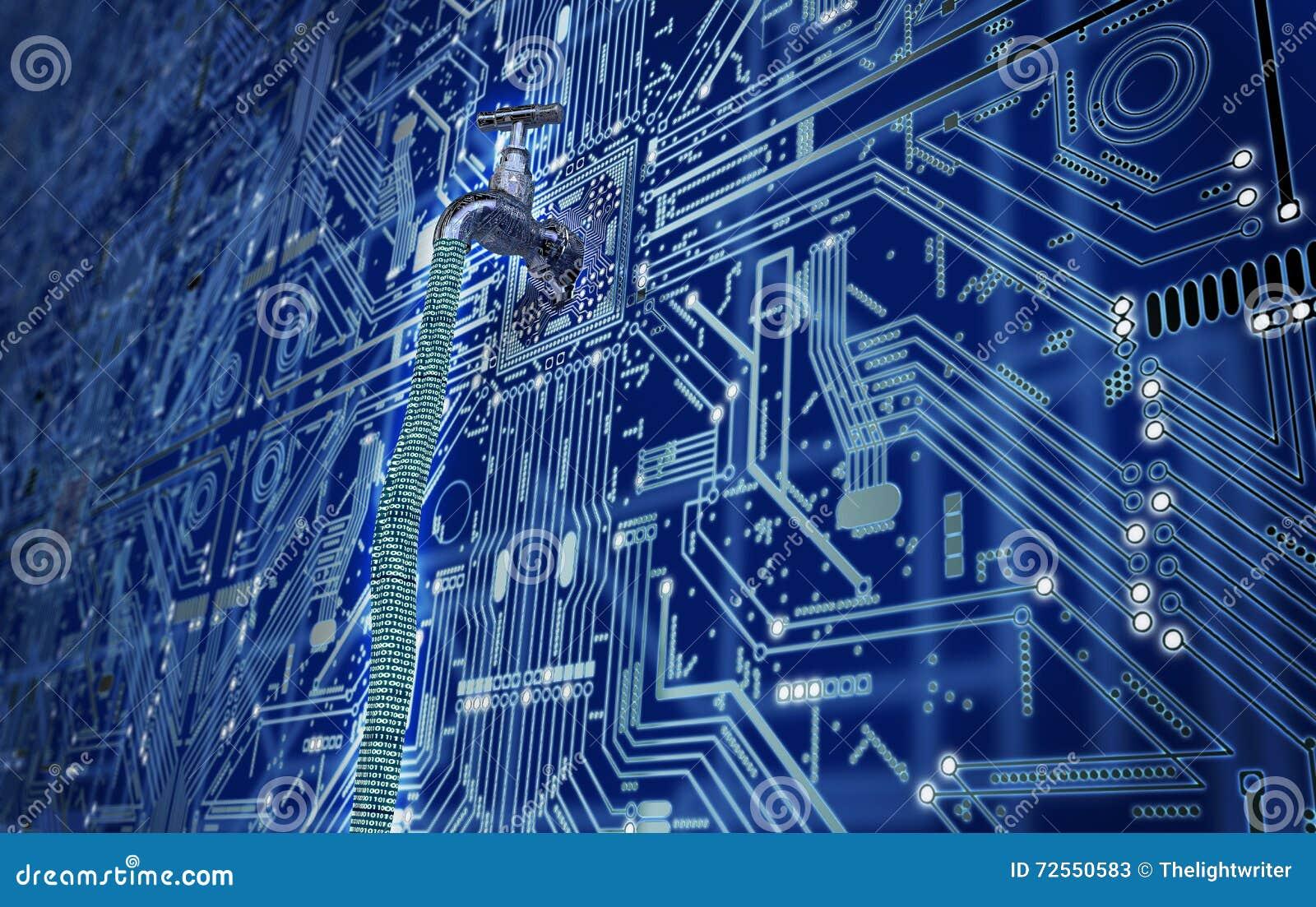 Concept lekke software, gegevens met een kraan die uit plakken