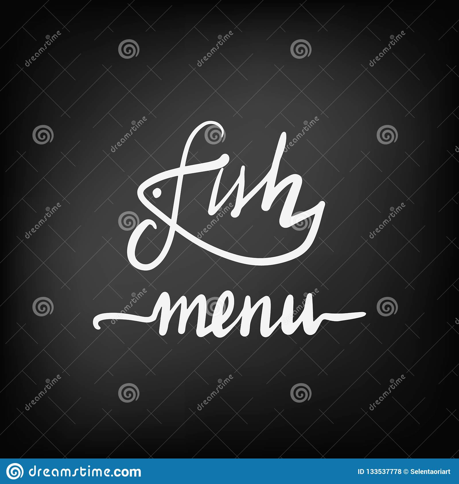 Concept Of Lettering Logo For A Fish Menu Of A Cafe And Restaurant Stock Vector Illustration Of Icon Drawn 133537778