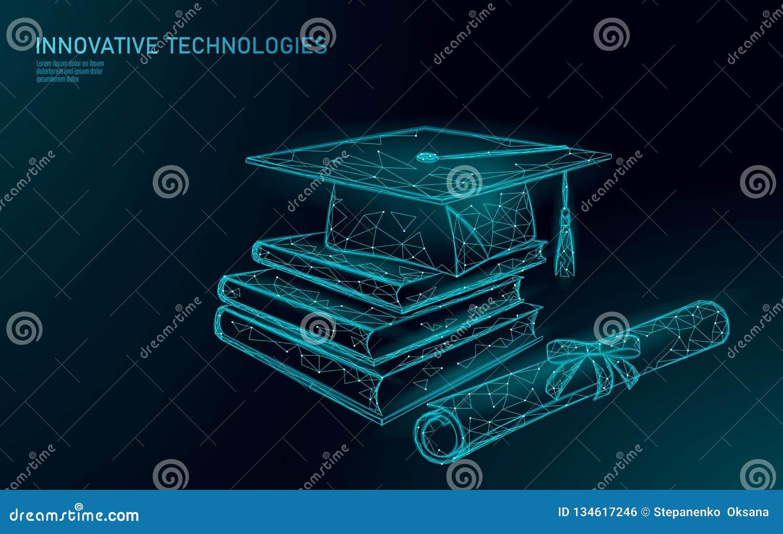 Concept licencié éloigné de programme de certificat d apprentissage en ligne Bas poly 3D rendre le chapeau d obtention du diplôme
