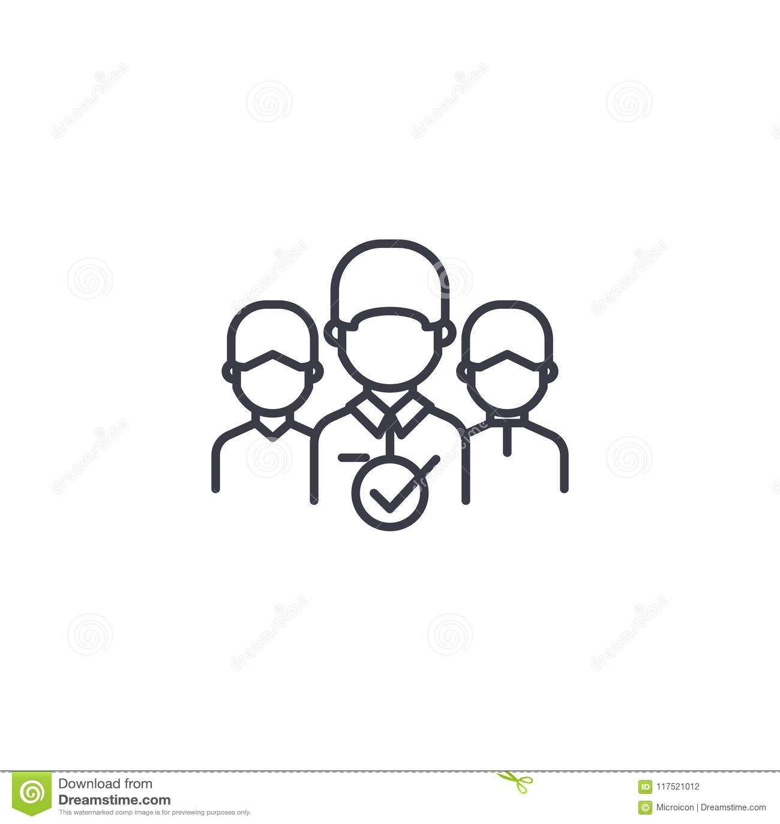 Concept linéaire d icône d équipe responsable du projet Ligne signe de vecteur, symbole, illustration d équipe responsable du pro
