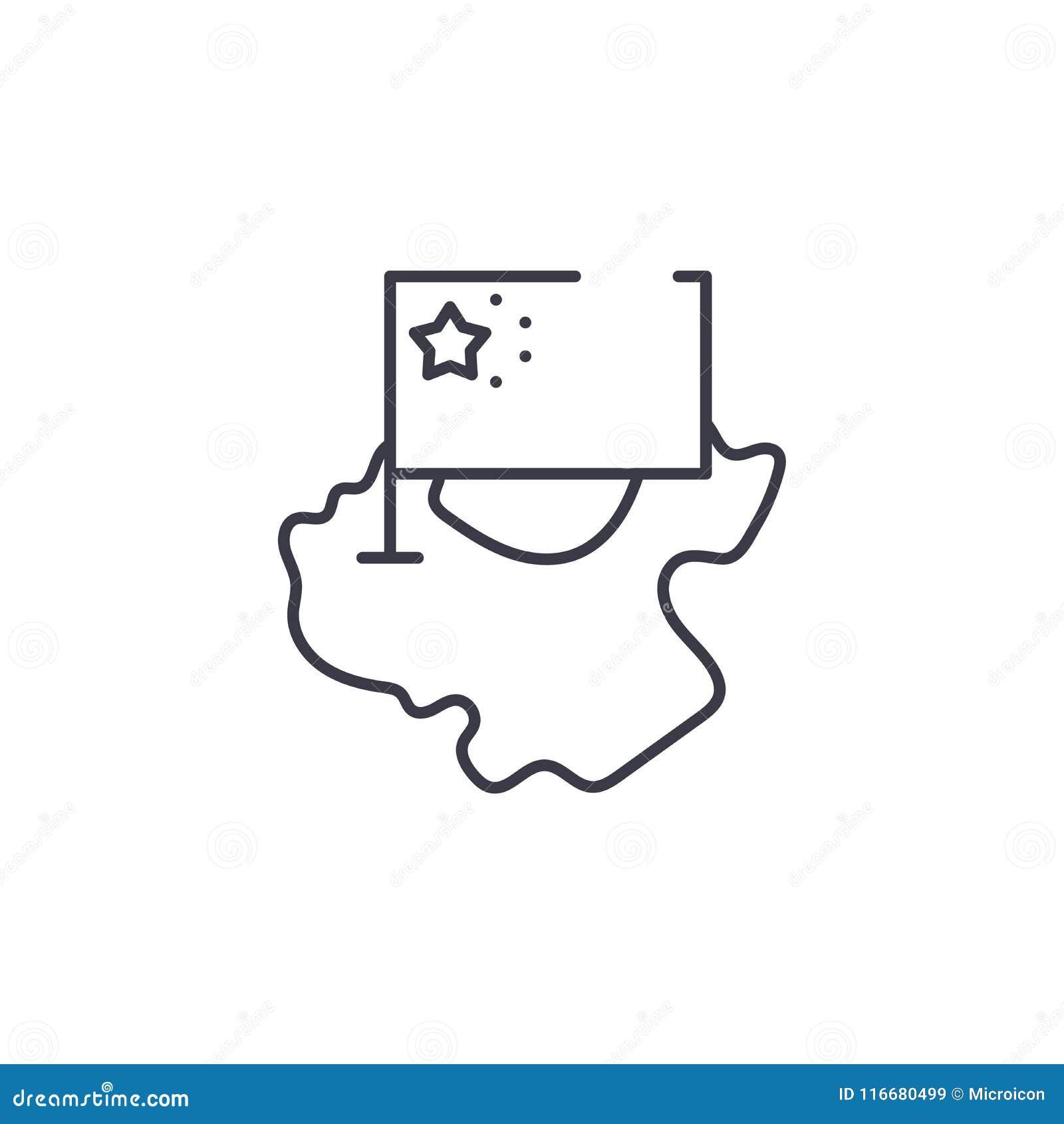 Concept linéaire d icône de carte et de drapeau de la Chine La carte de la Chine et la ligne de drapeau dirigent le signe, symbol