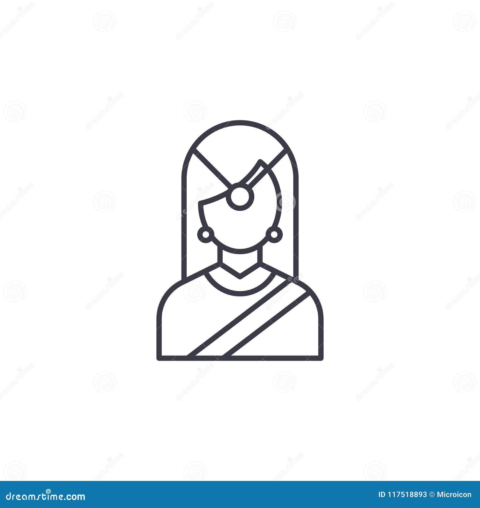 Concept linéaire d icône de femme traditionnelle indienne Ligne traditionnelle indienne signe de vecteur, symbole, illustration d