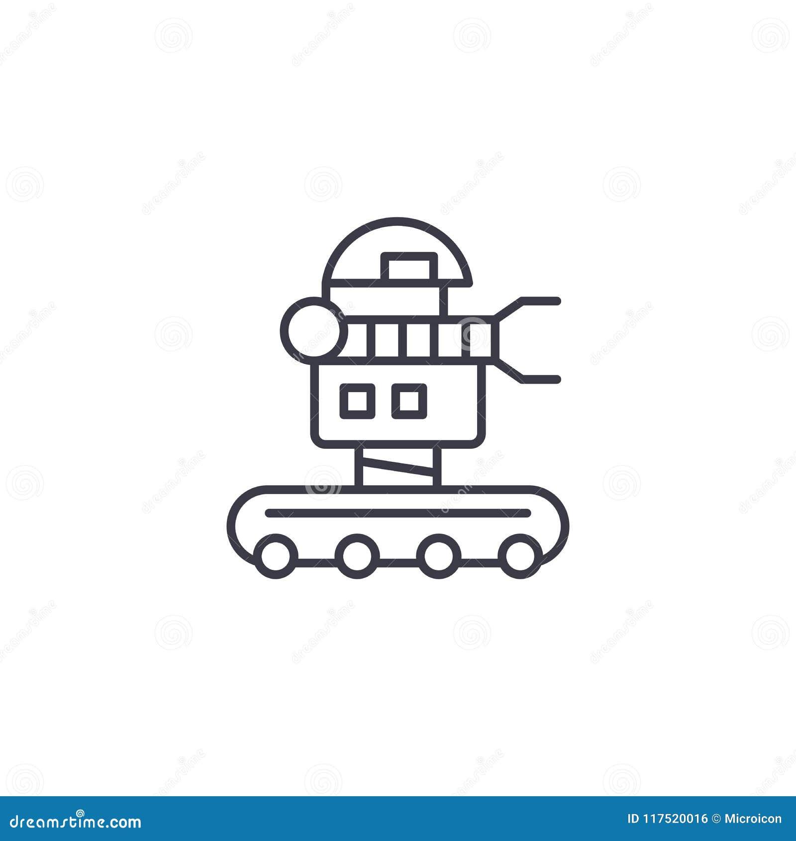Concept linéaire d icône de robot mobile Ligne mobile signe de vecteur, symbole, illustration de robot