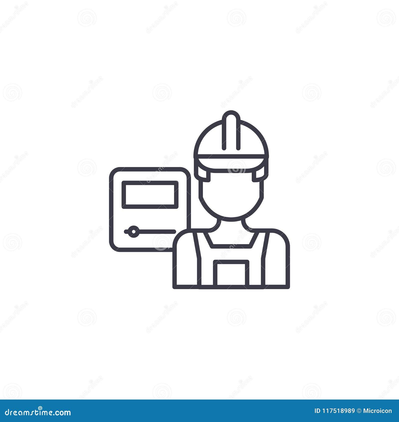 Concept linéaire d icône de travailleur industriel Ligne signe de vecteur, symbole, illustration de travailleur industriel