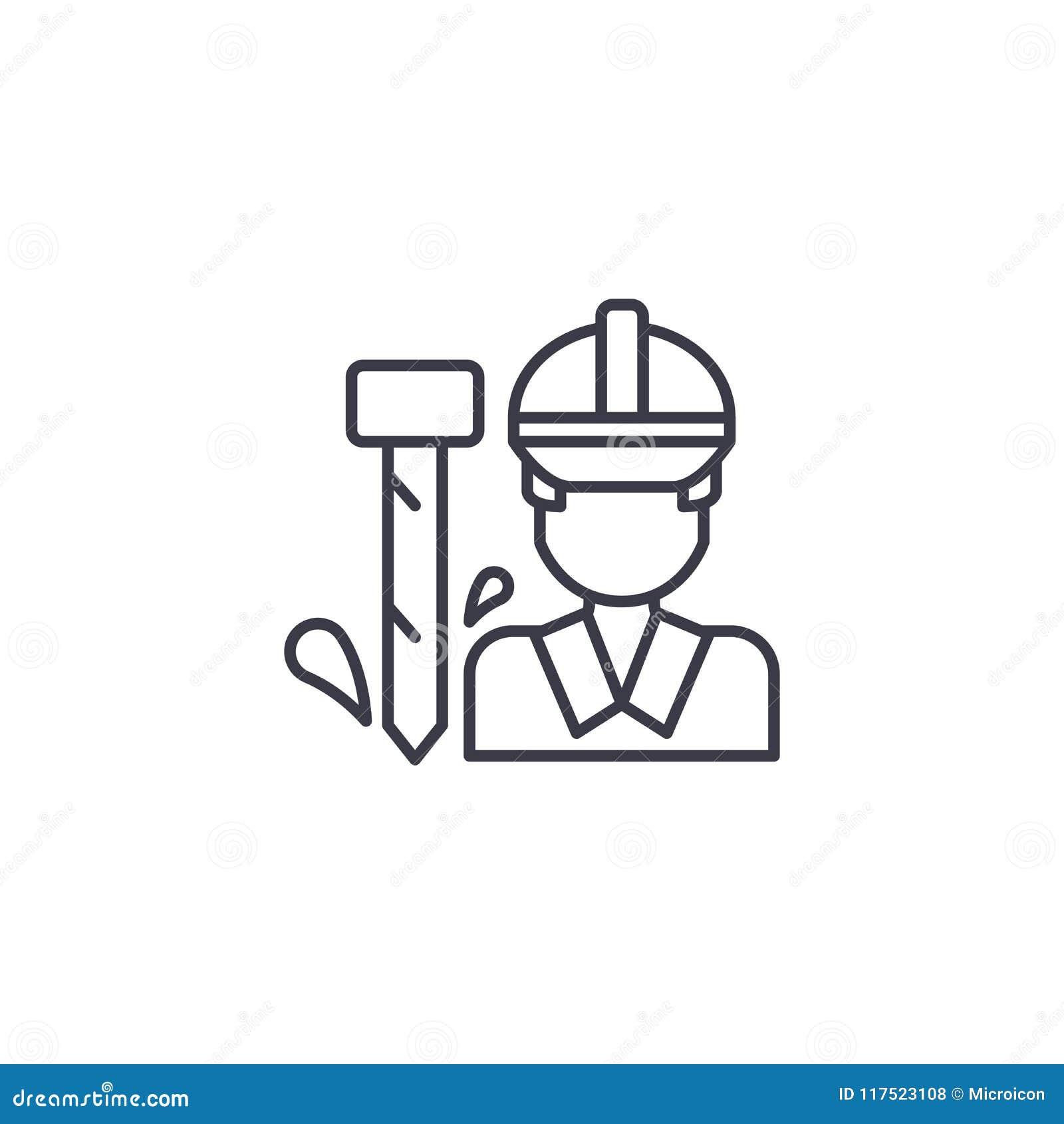 Concept linéaire d icône de travailleur Ligne signe de vecteur, symbole, illustration de travailleur