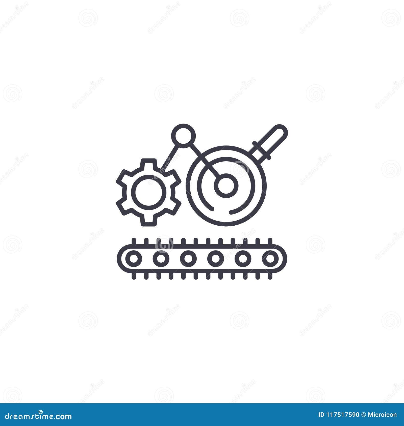 Concept linéaire de processus d icône d ingénierie En machinant la chaîne de fabrication dirigez le signe, symbole, illustration