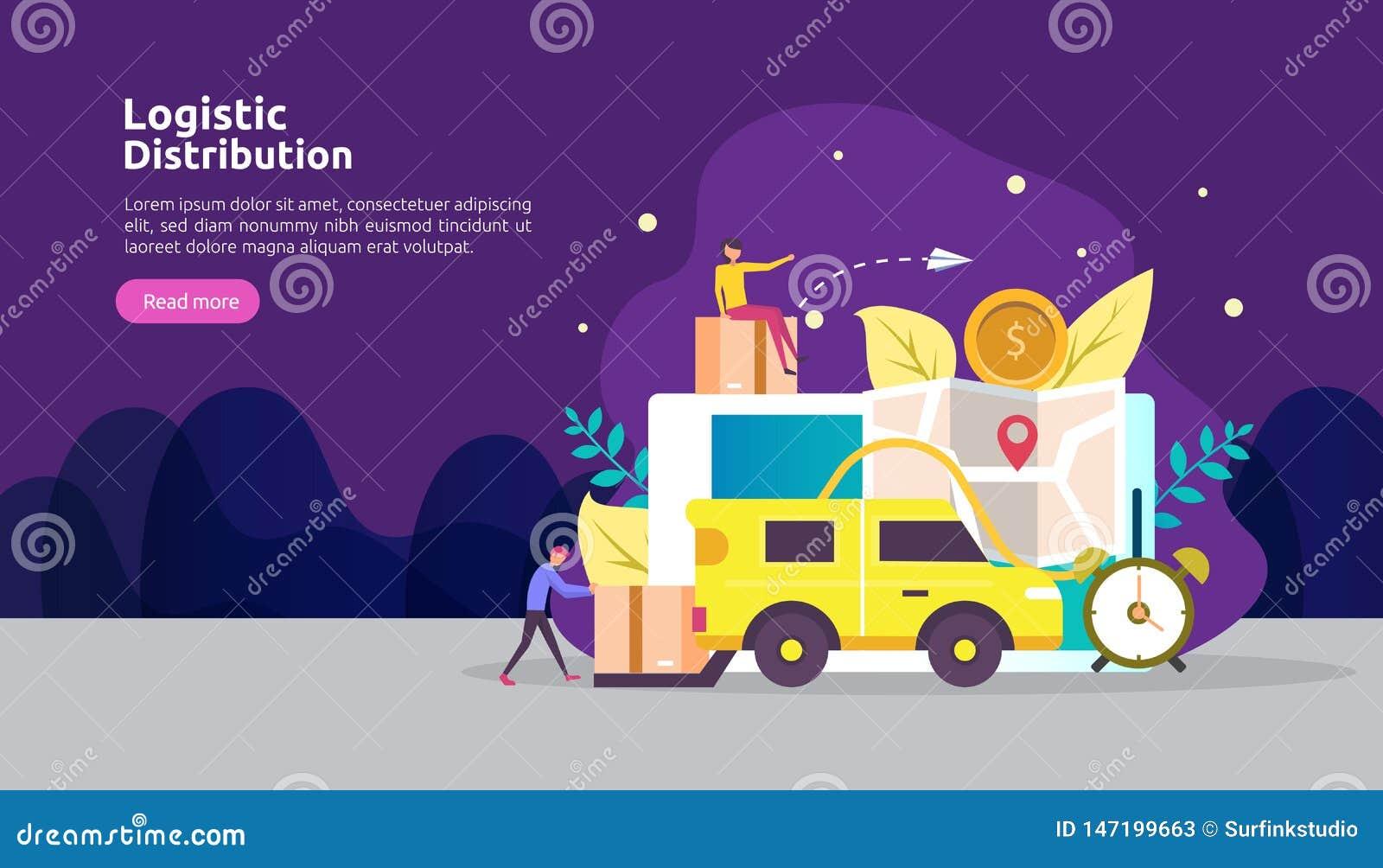 Concept logistique global d illustration de service de distribution banni?re mondiale d exp?dition d importations-exportations de