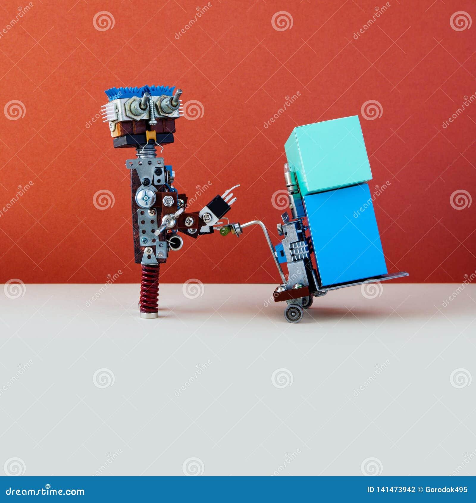 Concept logistique robotique de service de distribution Robot déplaçant de grandes boîtes avec le cric actionné de palette Mécani