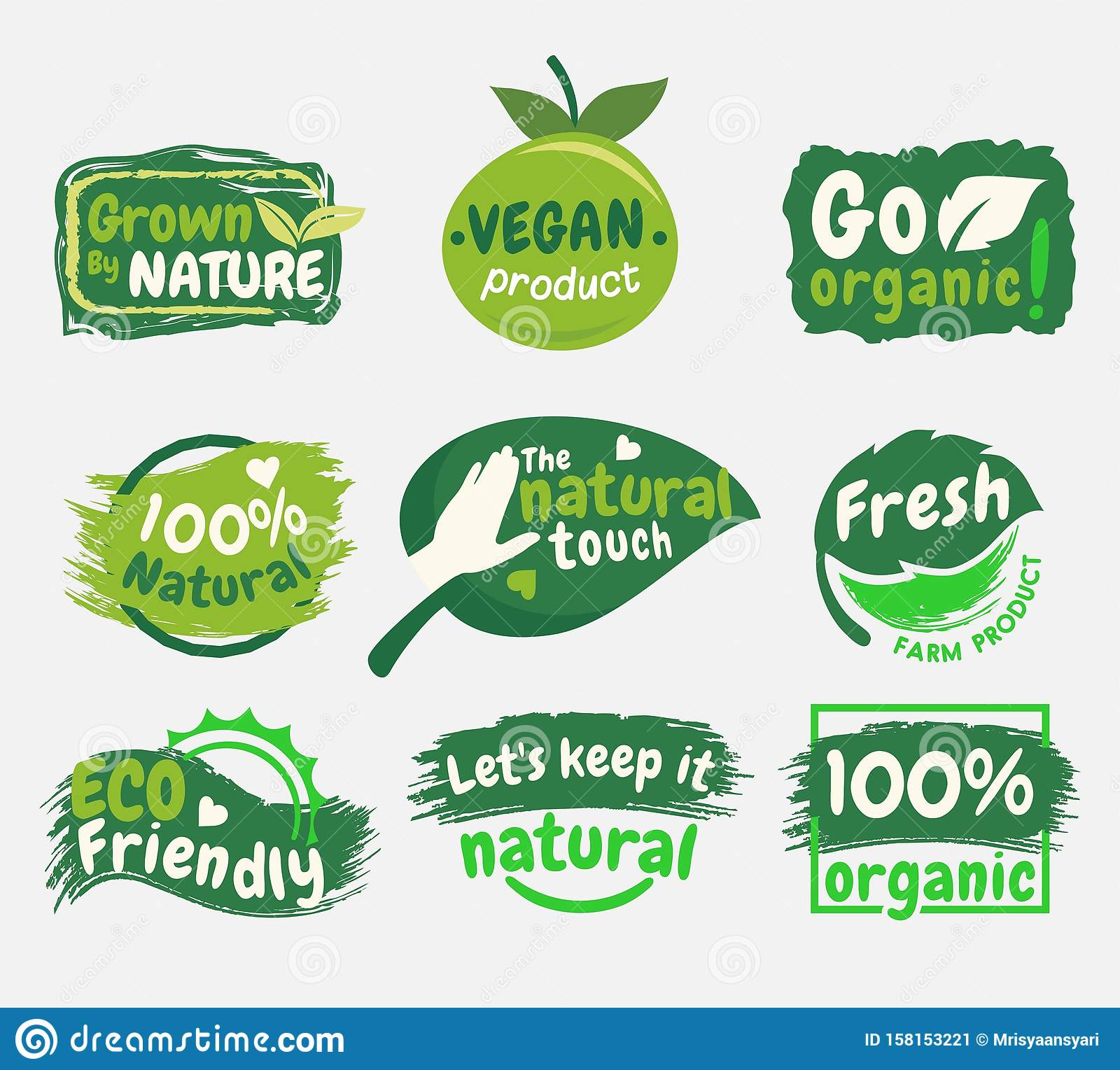 Organic Food Logo Collections Set Stock Vector Illustration Of Badge Labels 158153221