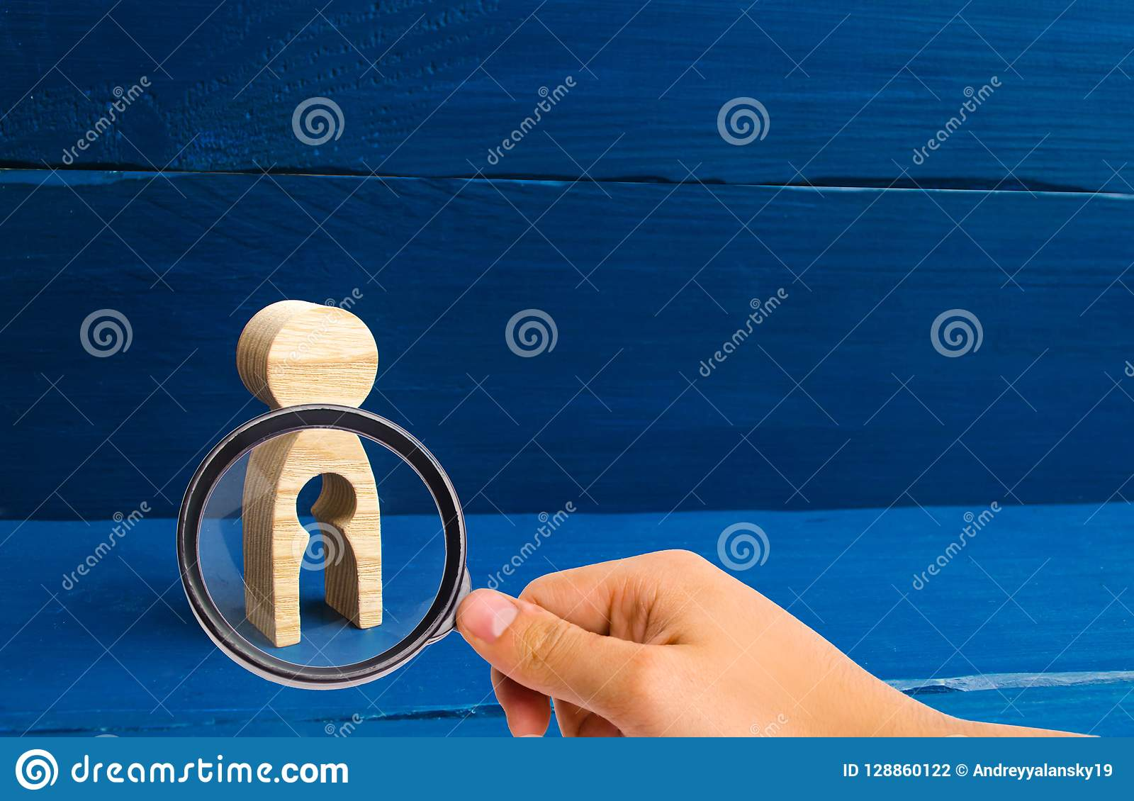 The concept of the loss of child, abortion of pregnancy, miscarriage. Infertility in women. Magnifying glass is looking at the woo