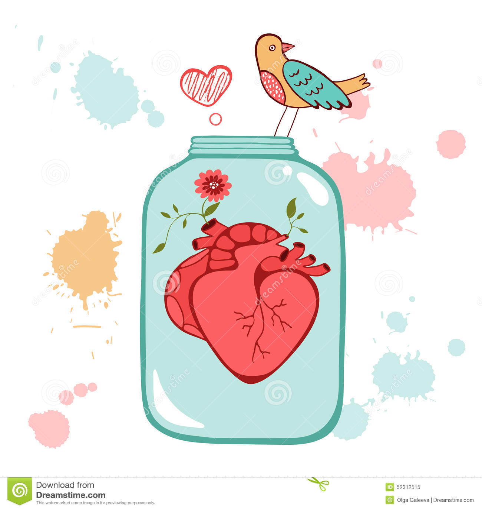 Concept love card stock vector. Illustration of bird - 52312515