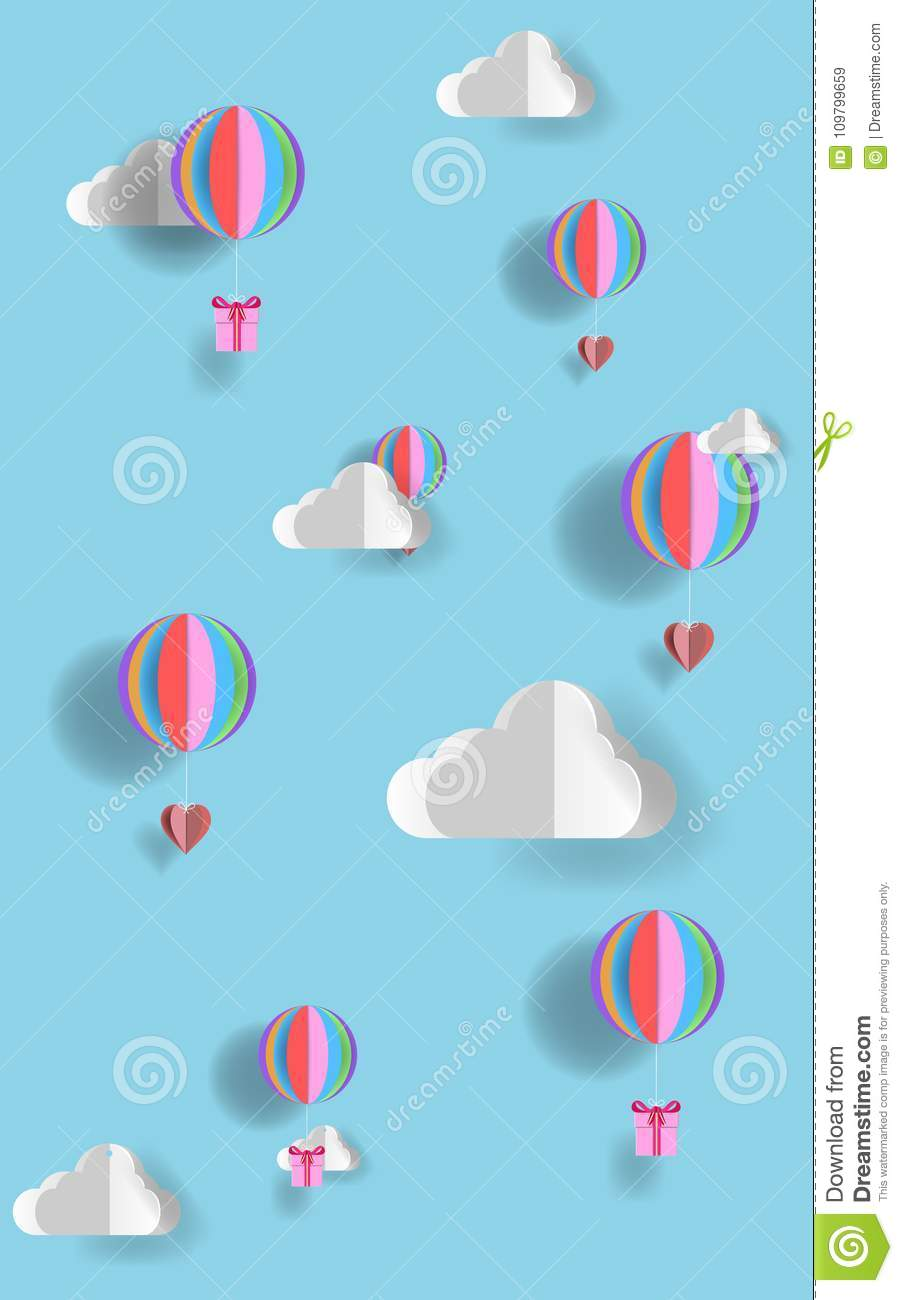 Origami Made Hot Air Balloon Flying Stock Vector (Royalty Free ... | 1300x903