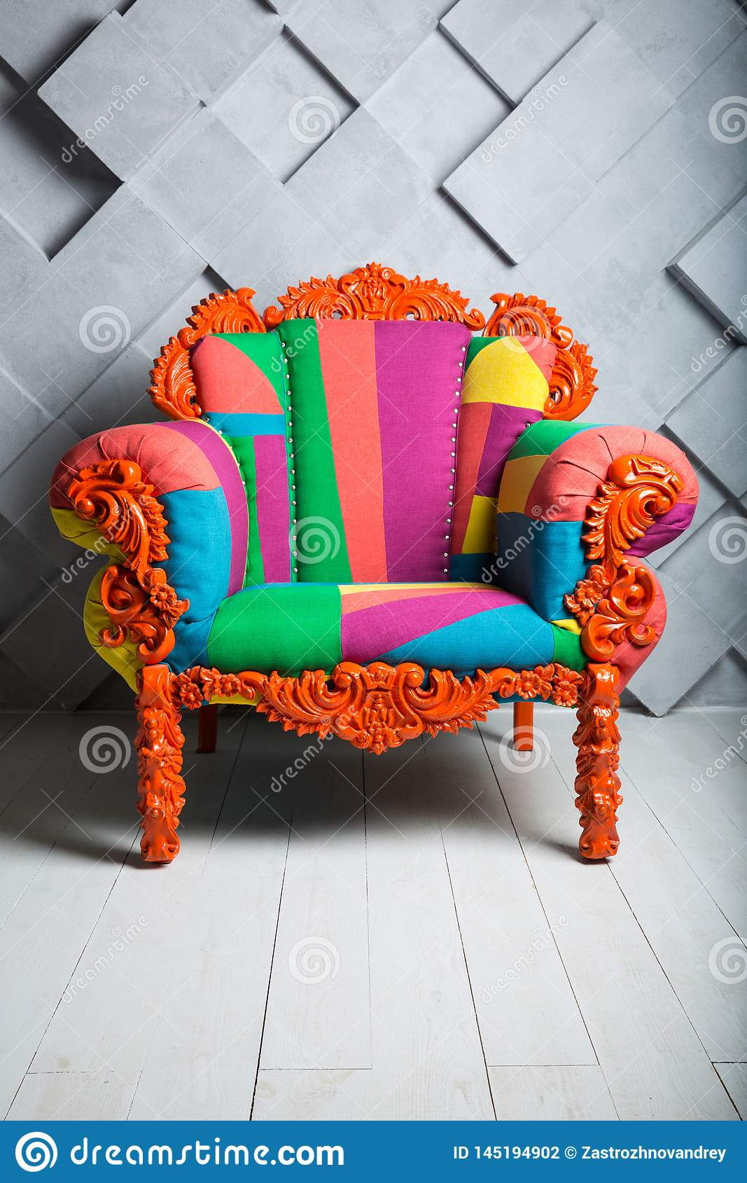 Concept of luxury and success with multi colored velvet armchair, boss place