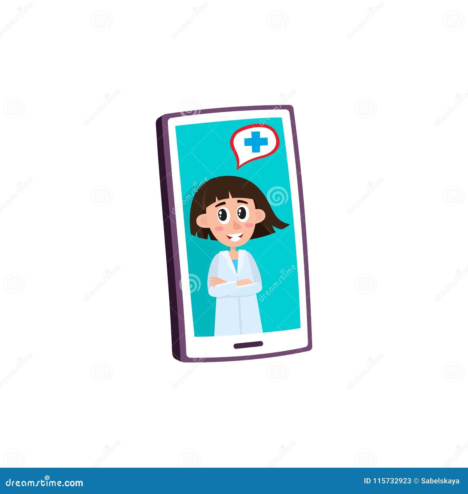 Concept médical à distance d aide avec le docteur féminin conseillant le patient sur la vidéo sur le smartphone