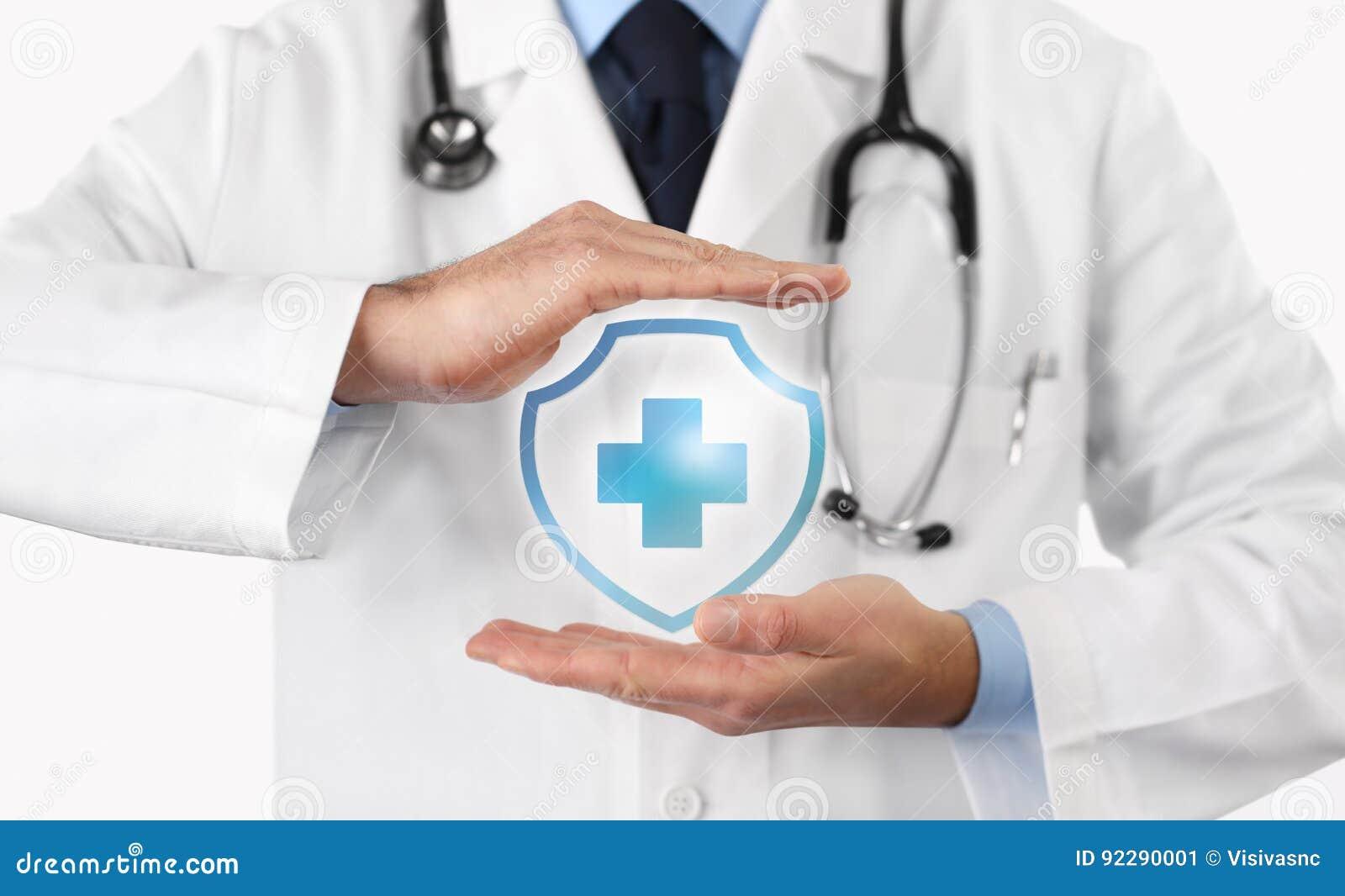 Concept médical d assurance médicale maladie, symbole croisé